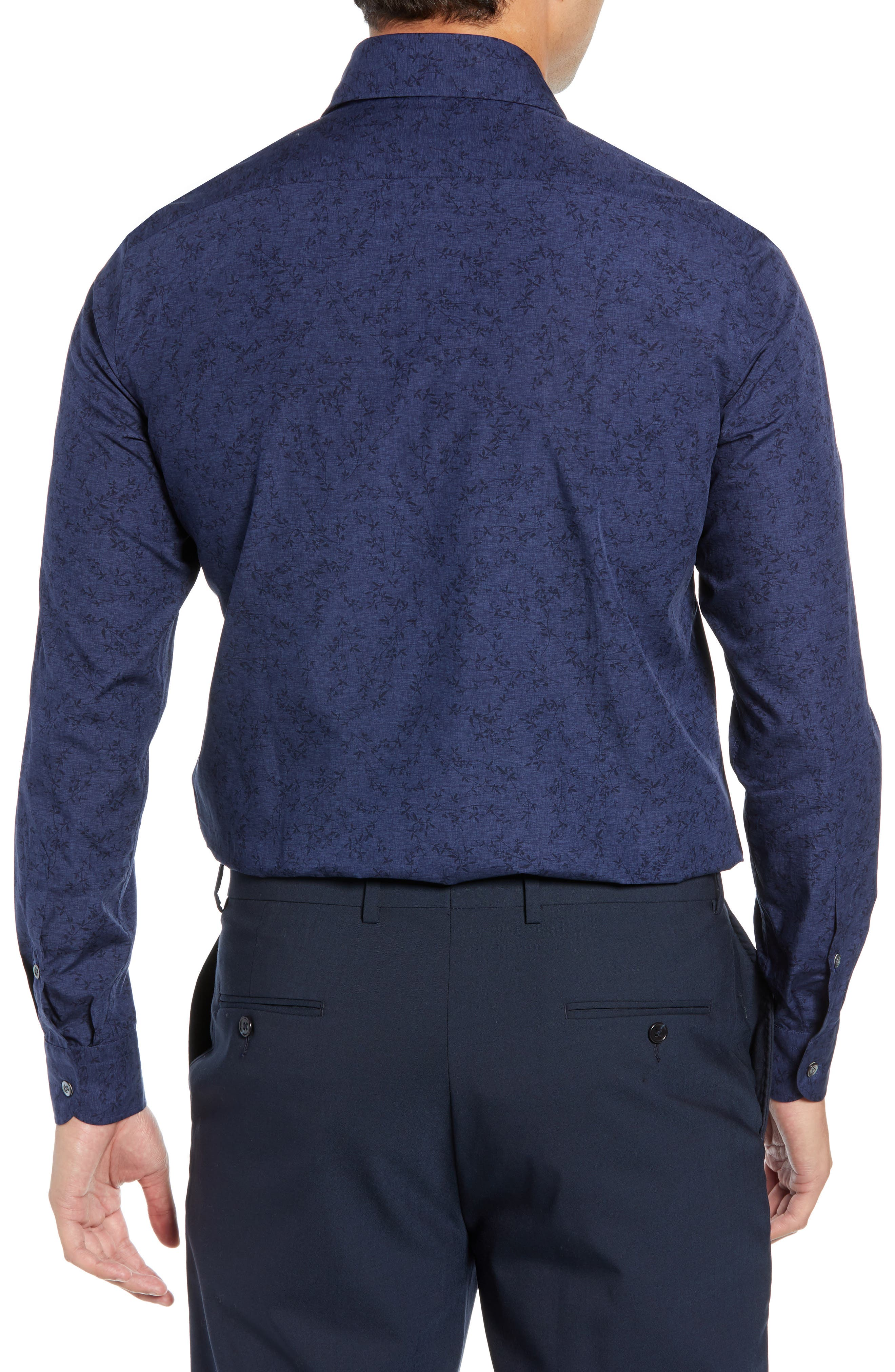 Slim Fit Print Dress Shirt,                             Alternate thumbnail 3, color,                             NAVY