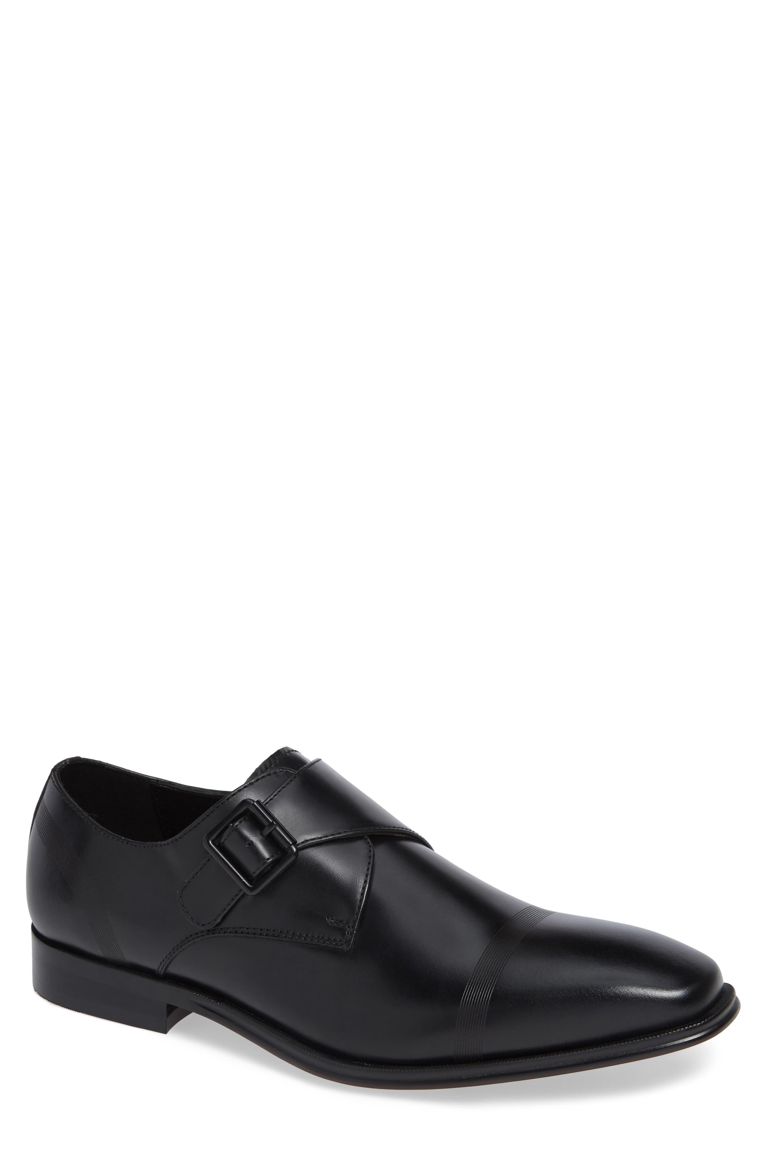 Pure Monk B Monk Shoe,                         Main,                         color, BLACK LEATHER