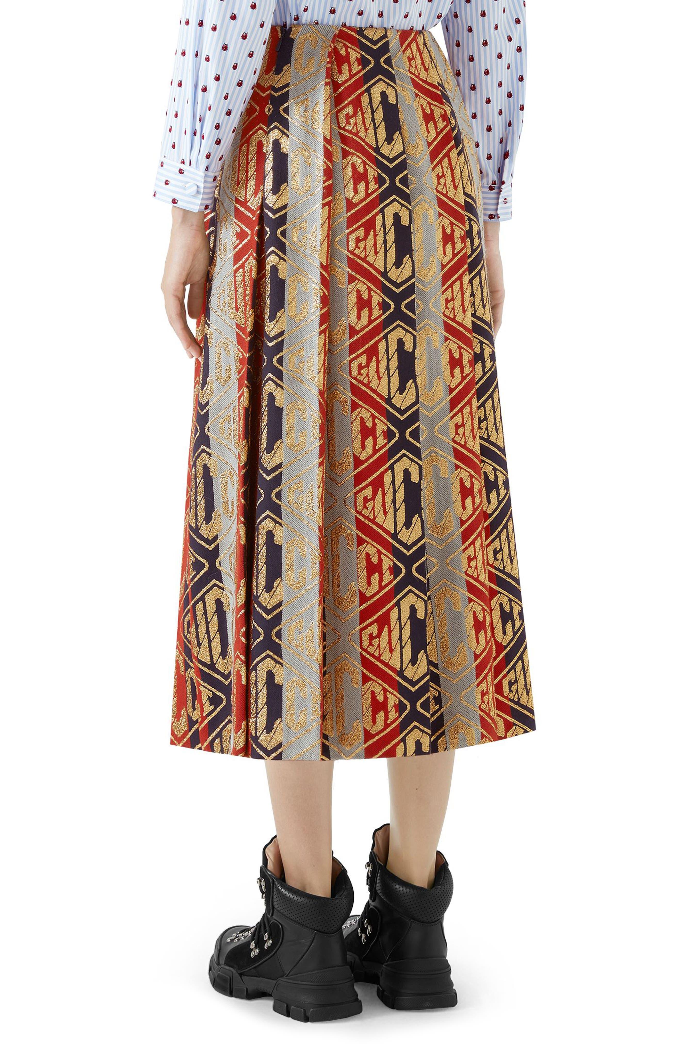 GUCCI,                             Metallic Logo Pleated Wool Blend Skirt,                             Alternate thumbnail 2, color,                             SYLVIE LUREX