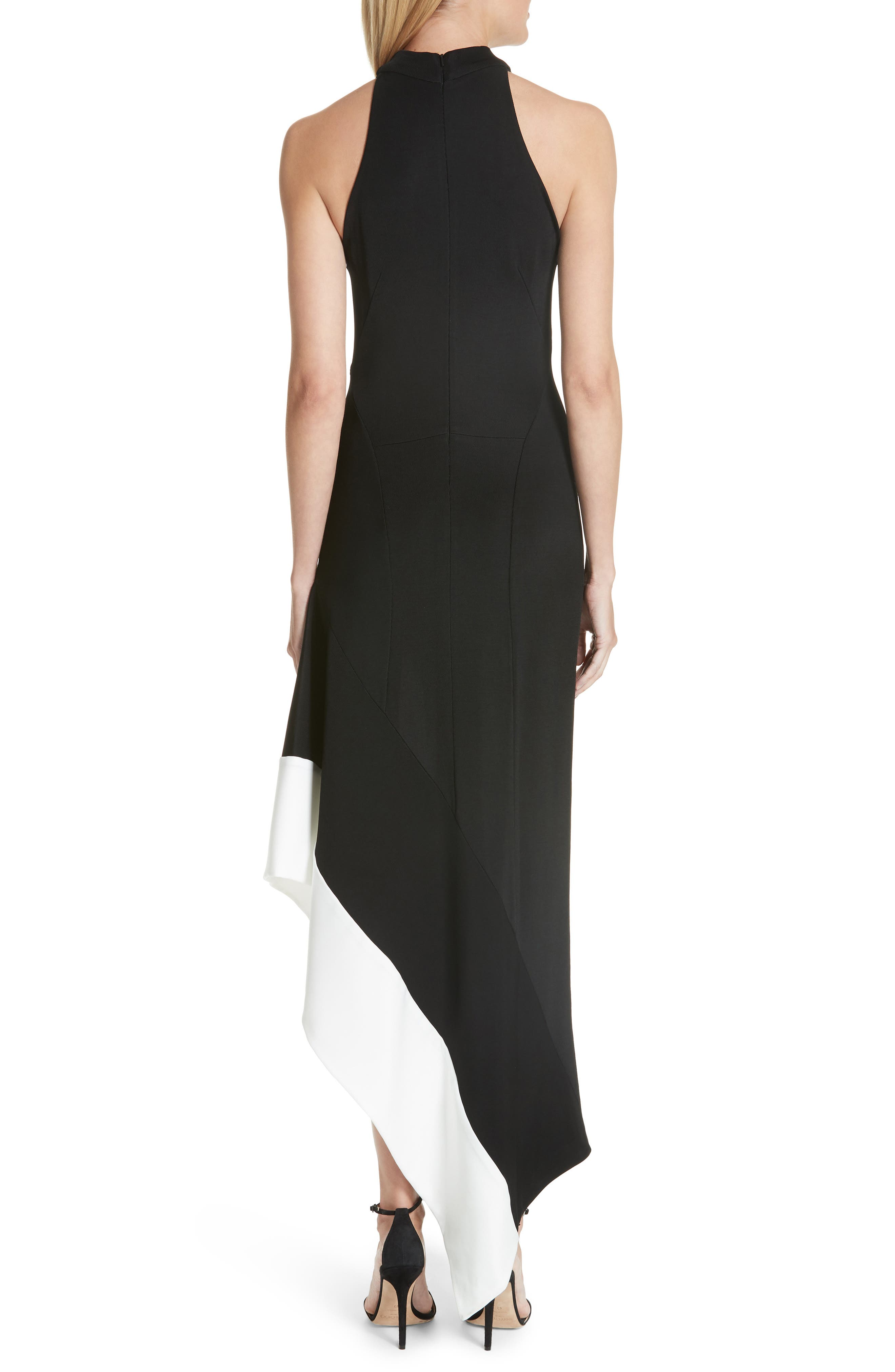 Colorblock Asymmetrical Gown,                             Alternate thumbnail 2, color,                             001