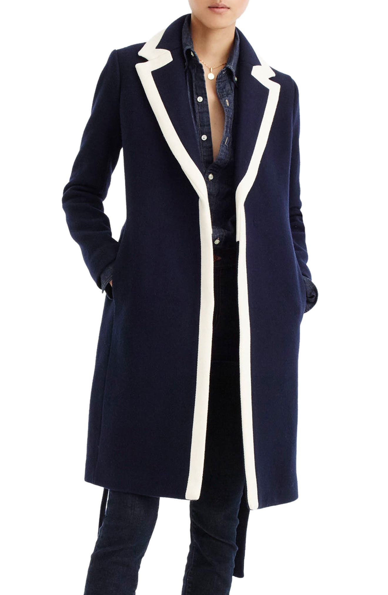 J.CREW Tipped Wrapped Stadium Cloth Coat, Main, color, 400