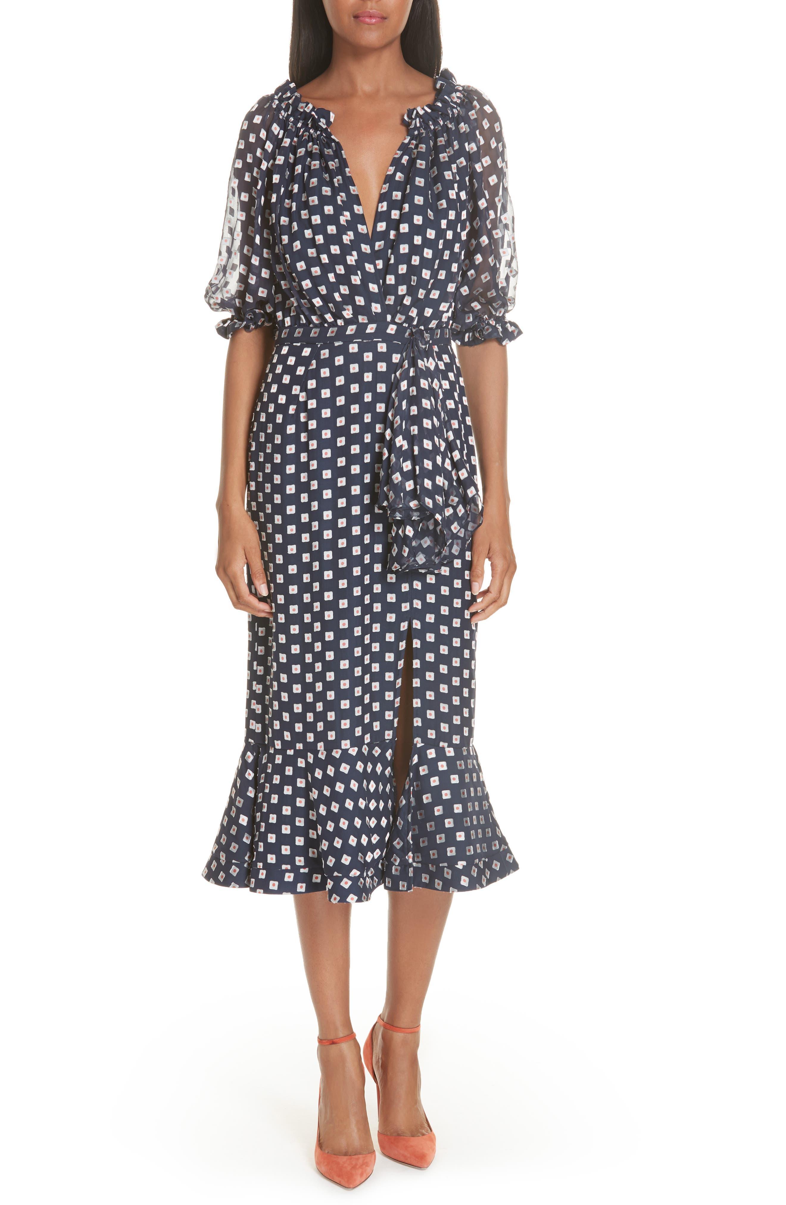 Olivia Silk Blend Midi Dress,                             Main thumbnail 1, color,                             410