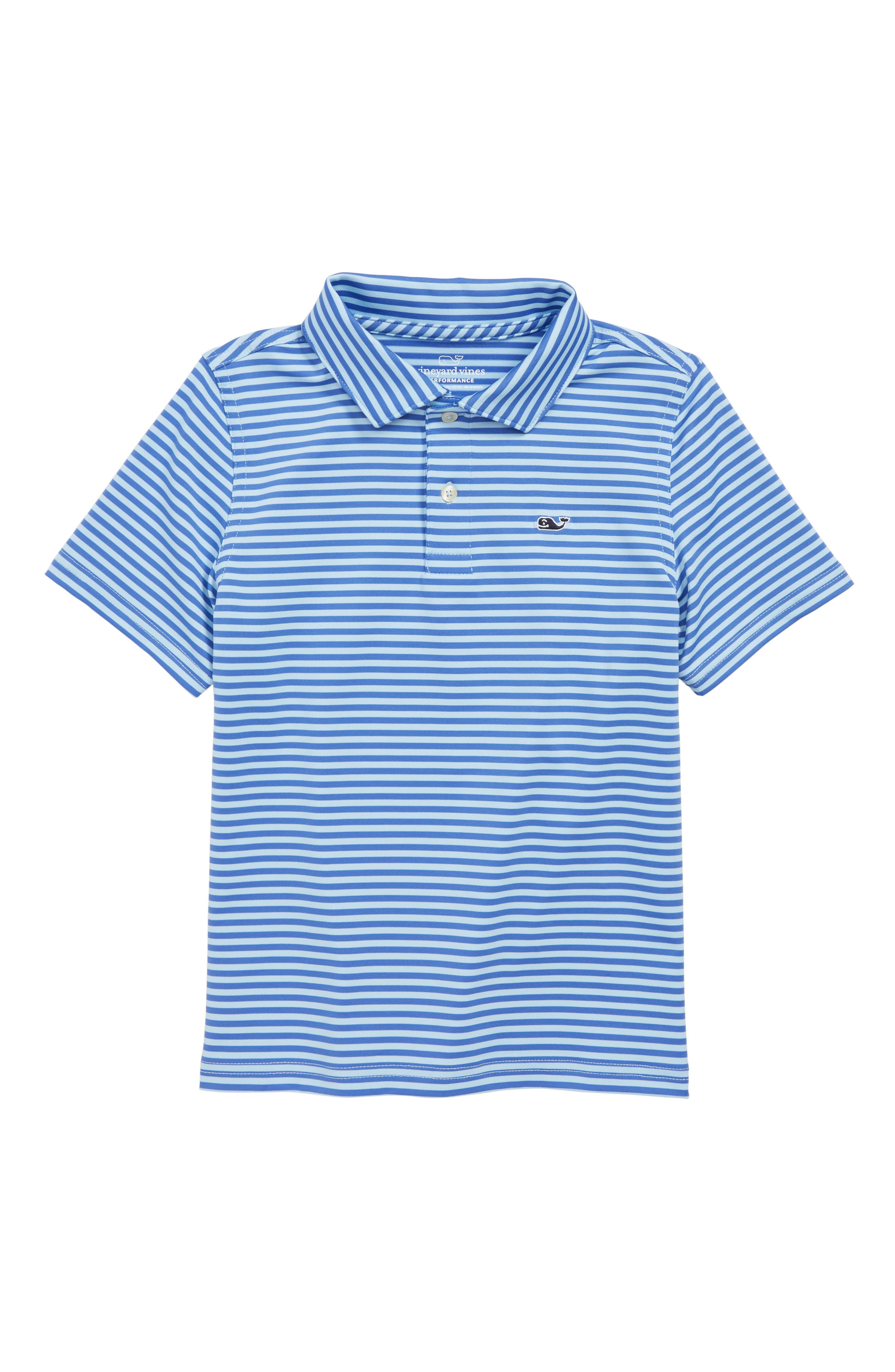 Feeder Stripe Performance Polo,                         Main,                         color, SURF BLUE