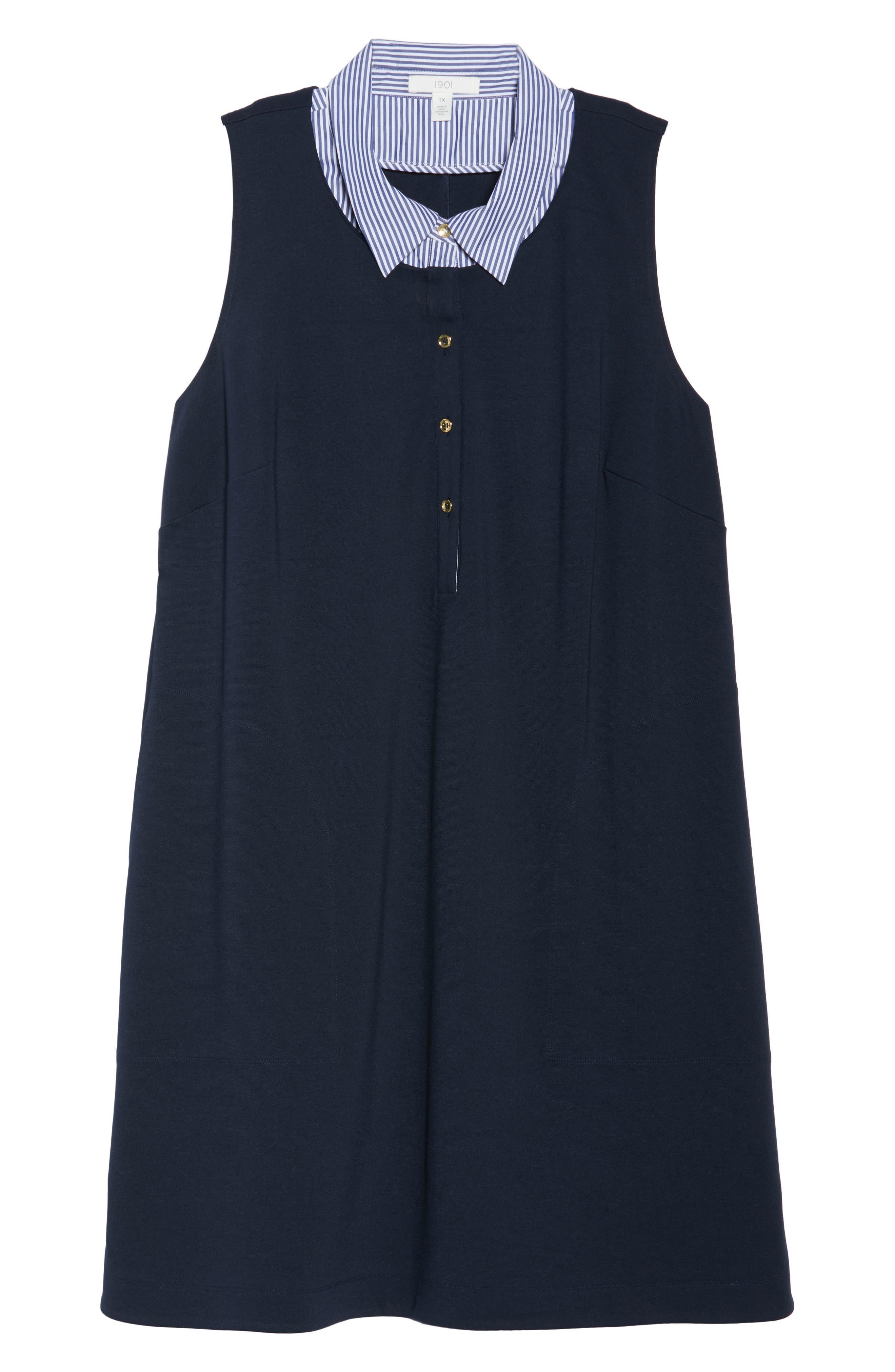 Poplin Collar Knit Dress,                             Alternate thumbnail 6, color,                             410