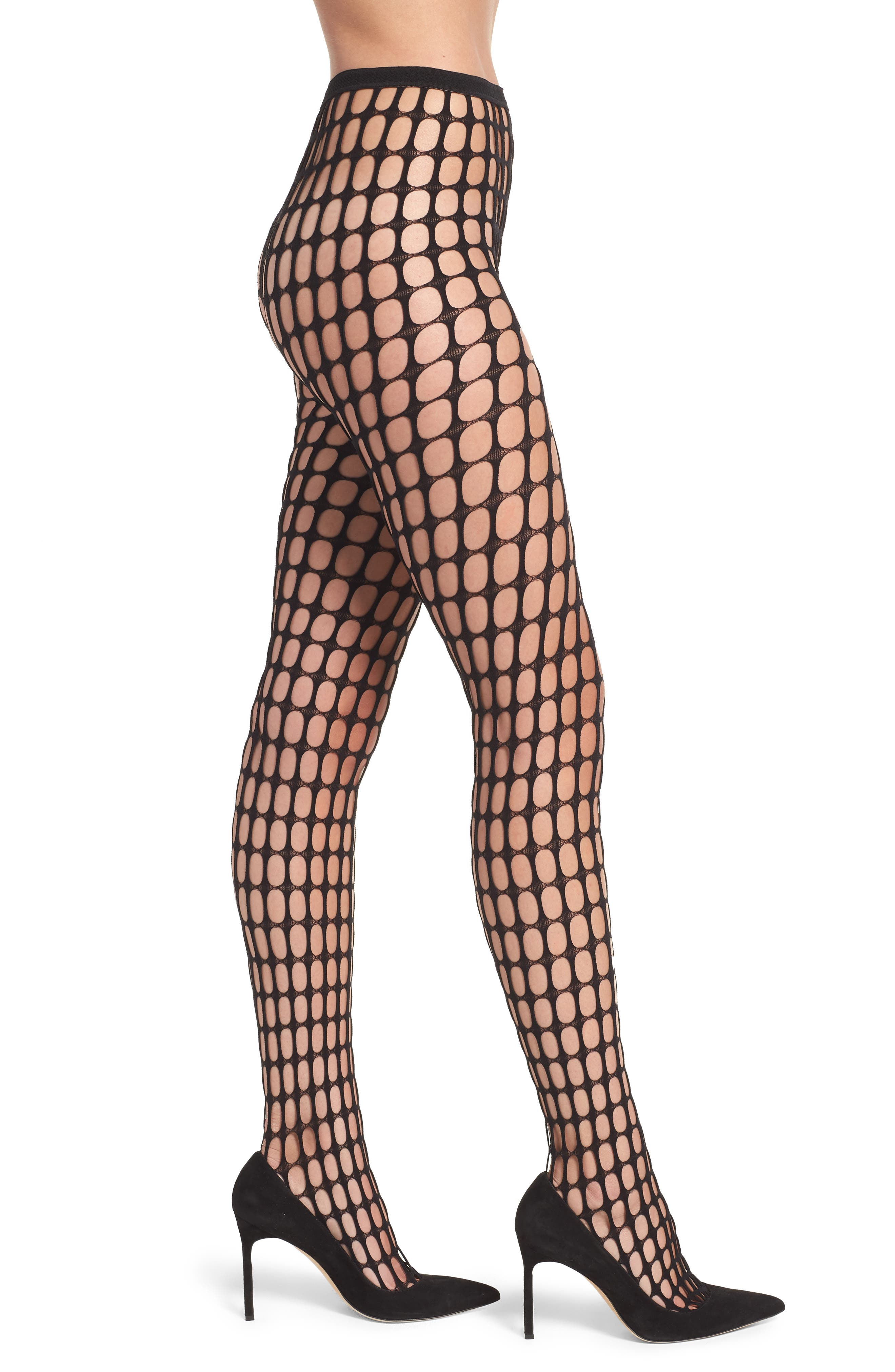 PRETTY POLLY Oblong Net Tights in Black