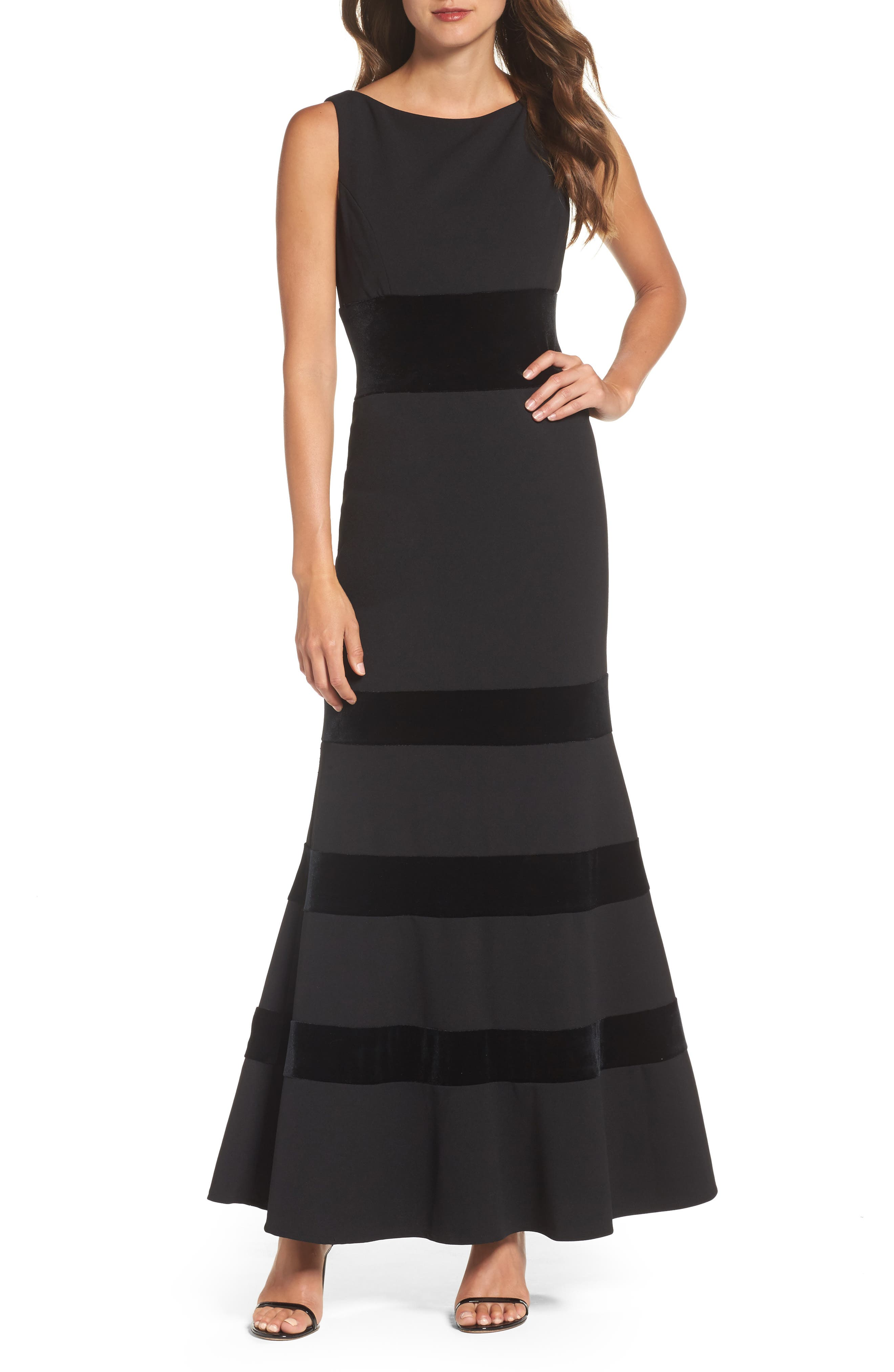 Velvet & Scuba Crepe Mermaid Gown,                             Main thumbnail 1, color,                             BLACK