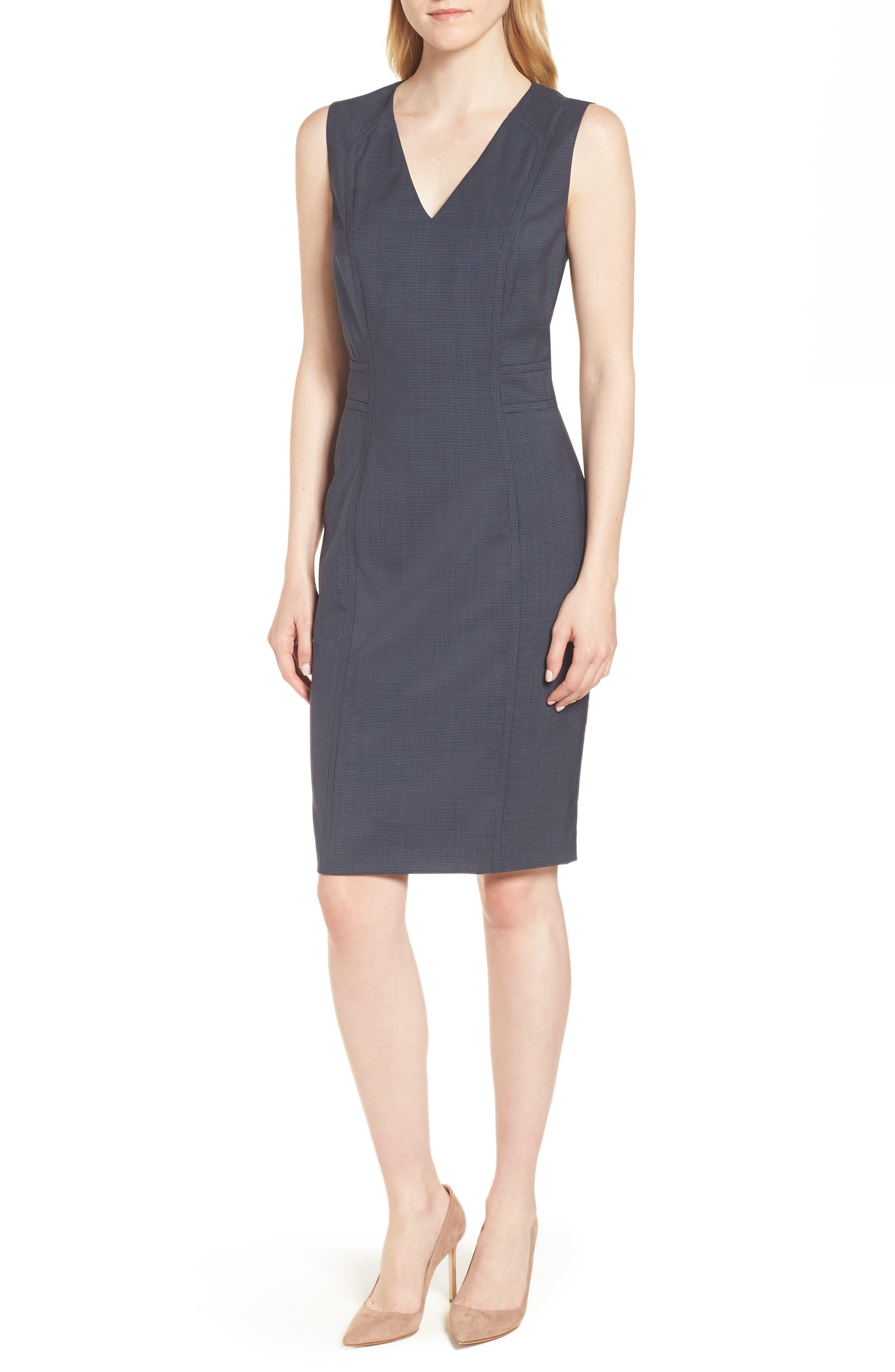 Dalouise Pepita Stretch Wool Sheath Dress,                         Main,                         color,
