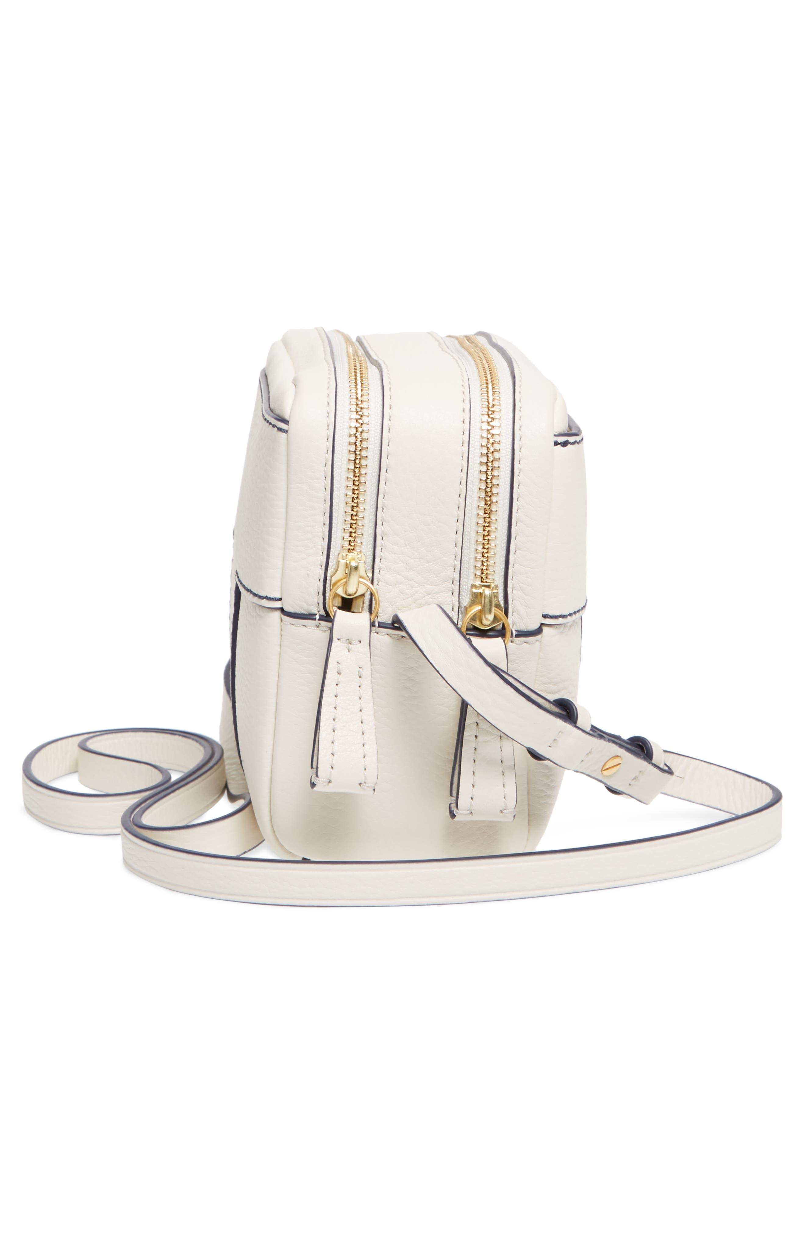 Block-T Double Zip Leather Crossbody Bag,                             Alternate thumbnail 5, color,                             100