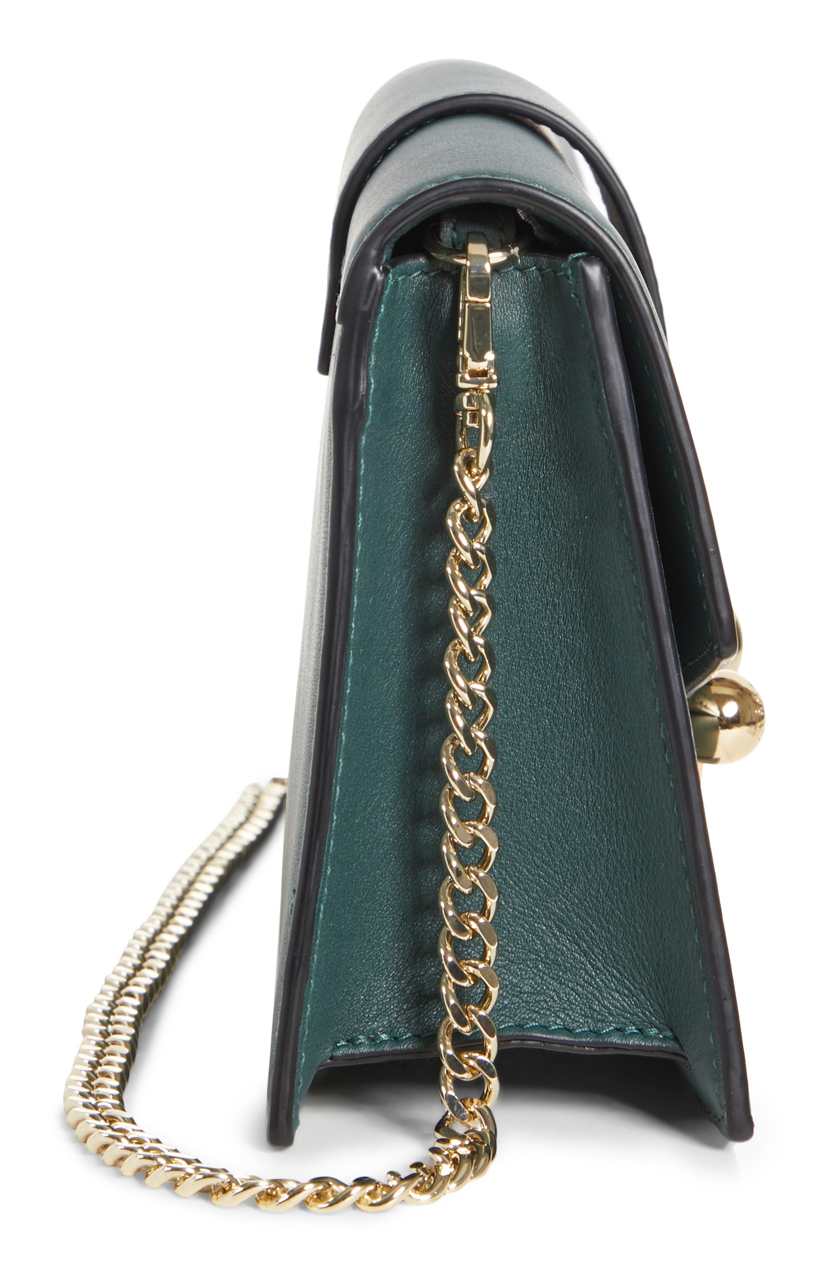 Mini Crescent Leather Clutch,                             Alternate thumbnail 6, color,                             BOTTLE GREEN