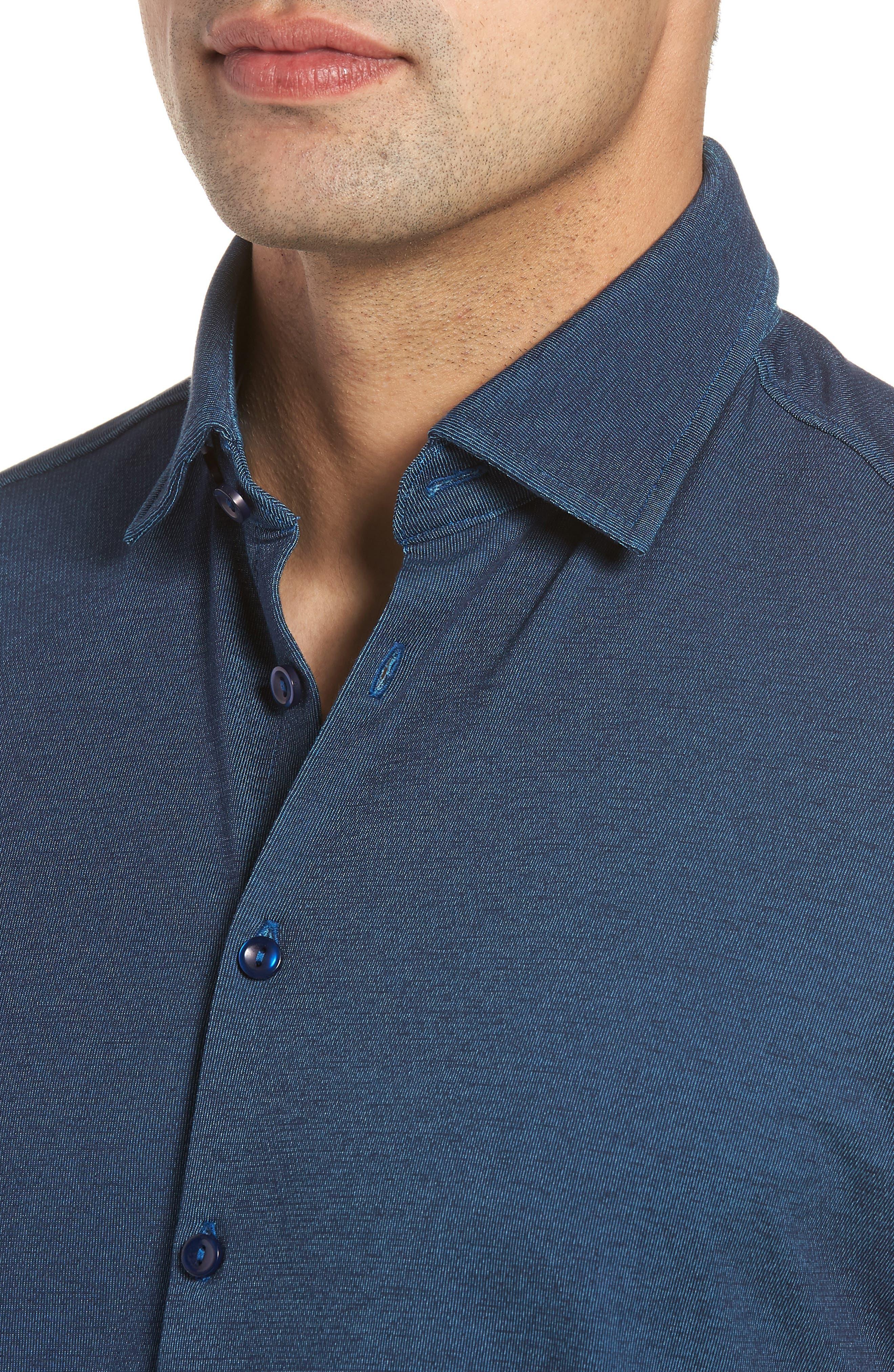 Contemporary Fit Tech Knit Sport Shirt,                             Alternate thumbnail 4, color,