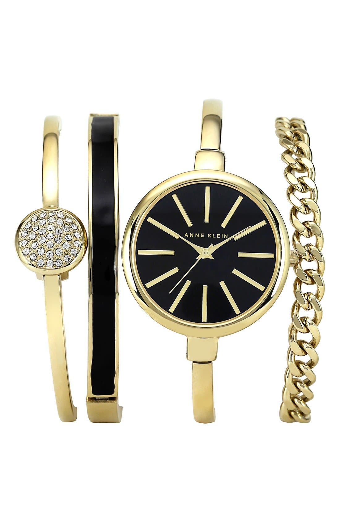 Round Watch & Bangle Set, 32mm,                         Main,                         color, GOLD/ BLACK