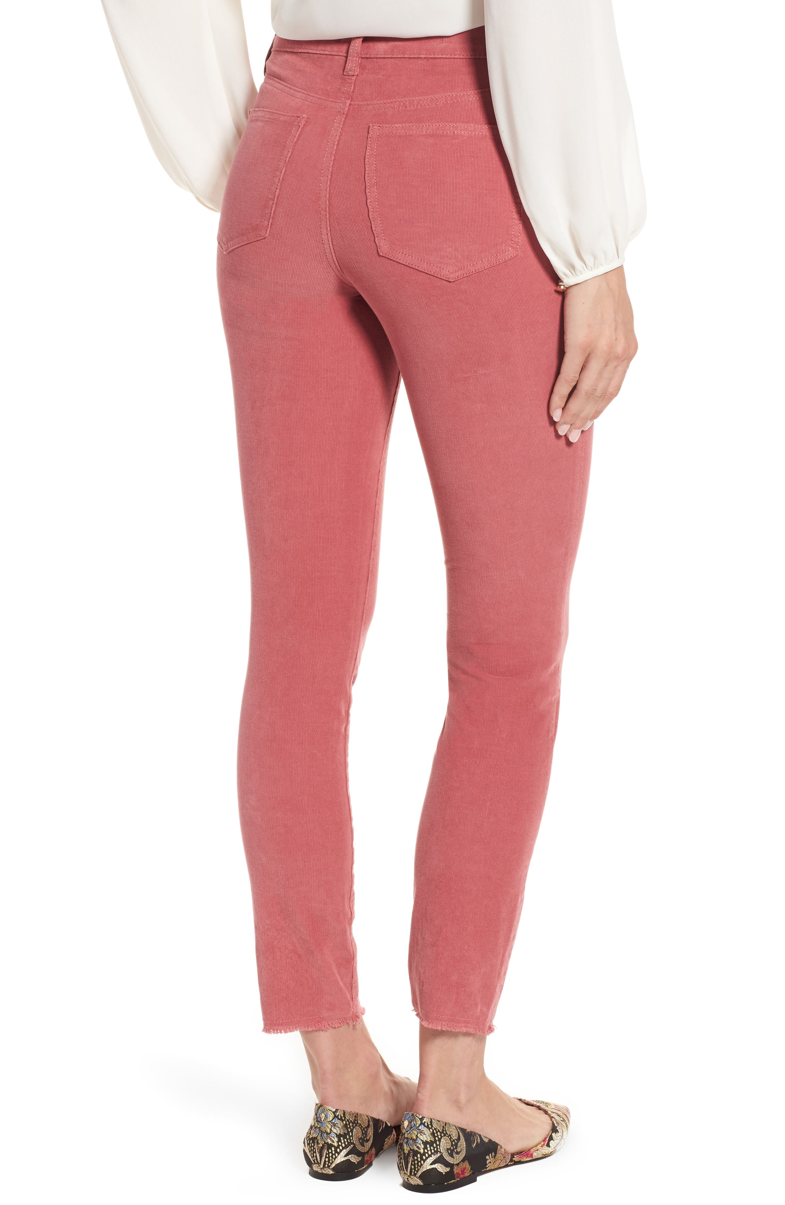Alina Frayed Stretch Corduroy Ankle Jeans,                             Alternate thumbnail 7, color,