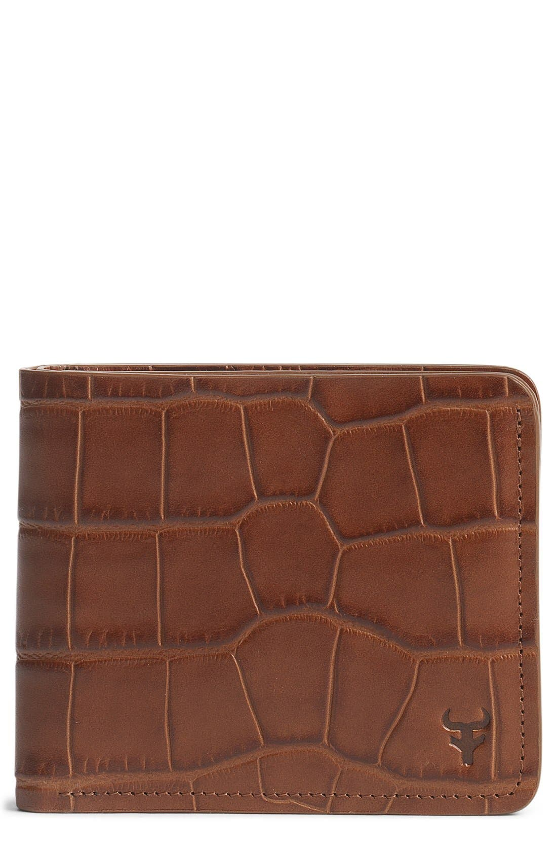 'Jackson' Slimfold Embossed Leather Wallet,                             Main thumbnail 1, color,                             SCOTCH