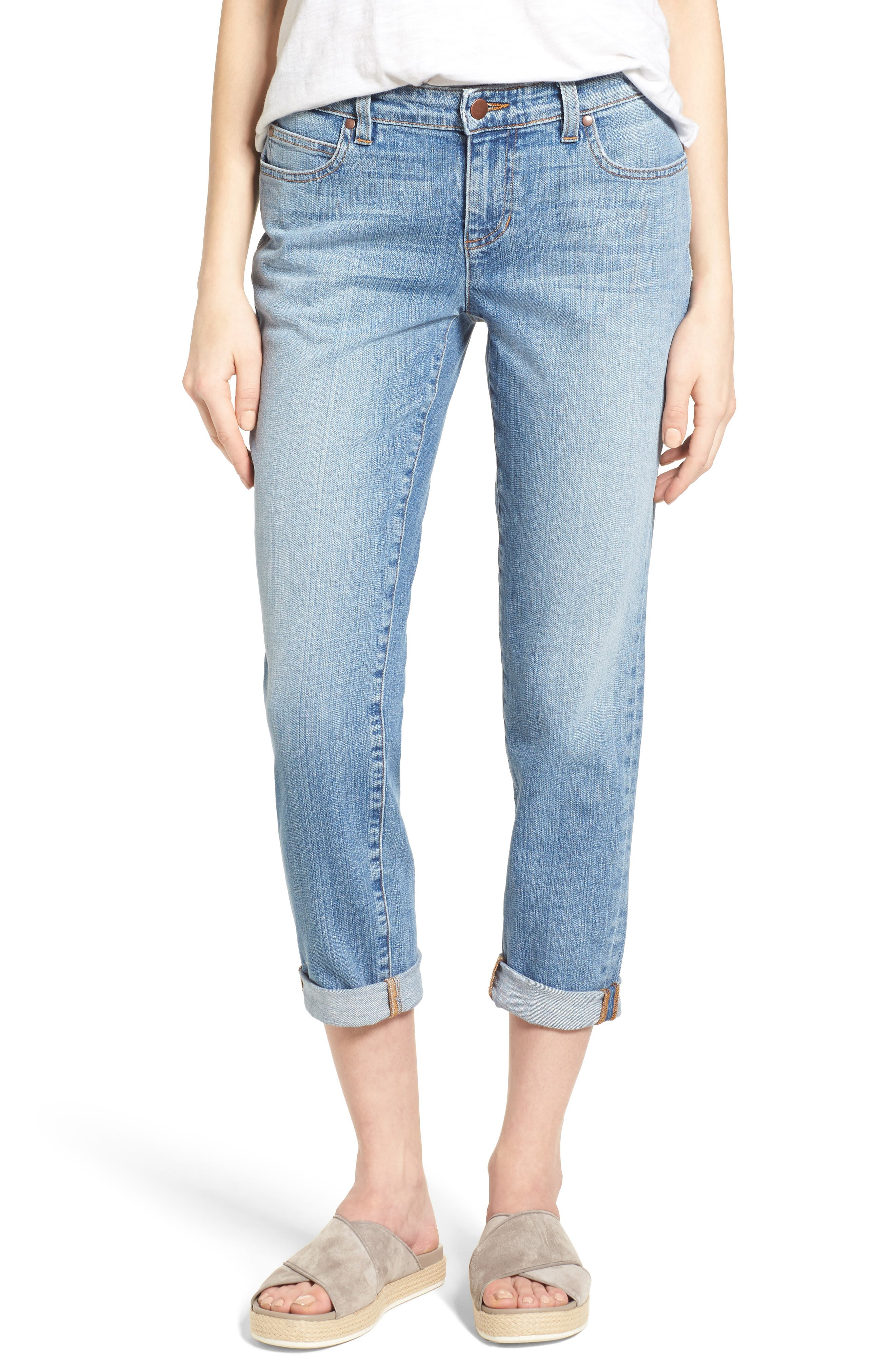 Organic Cotton Boyfriend Jeans,                         Main,                         color, SKY BLUE
