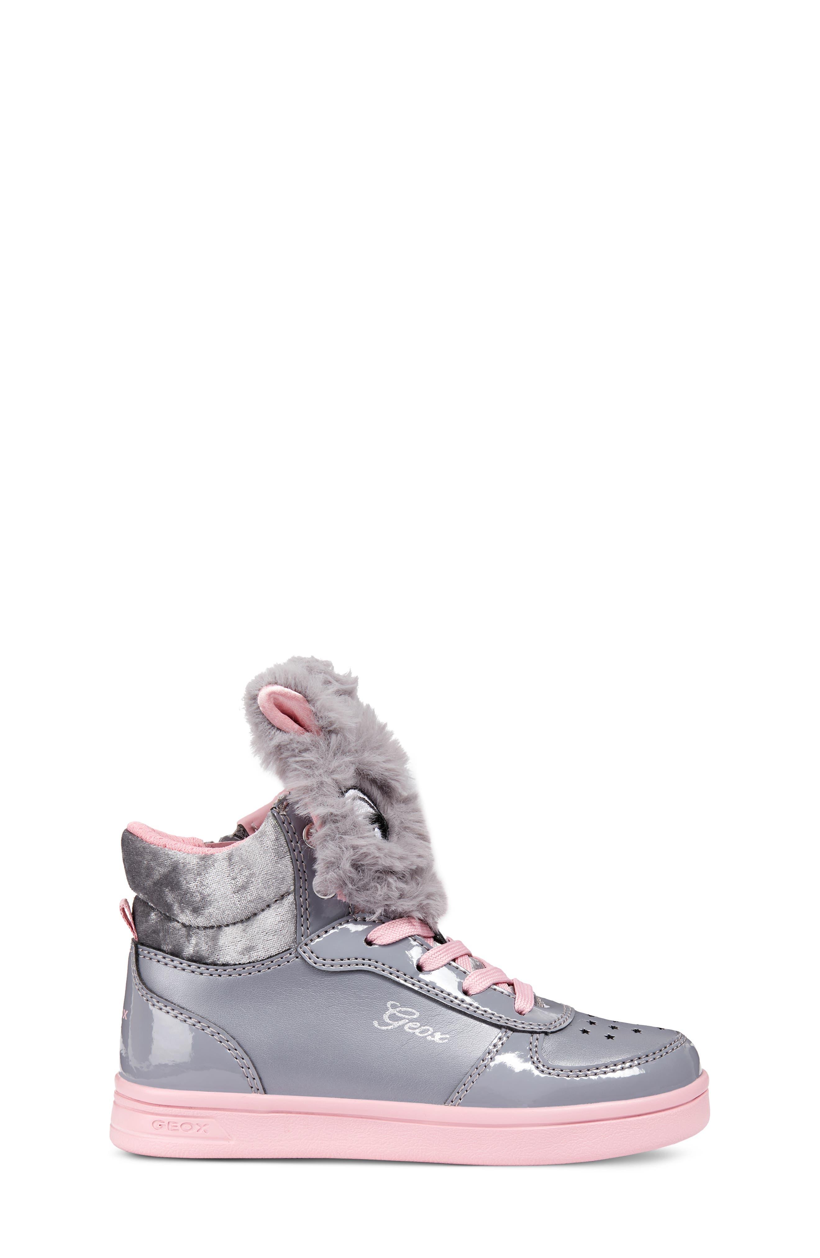 DJ Rock Fuzzy Friend Sneaker,                             Alternate thumbnail 3, color,                             GREY/PINK