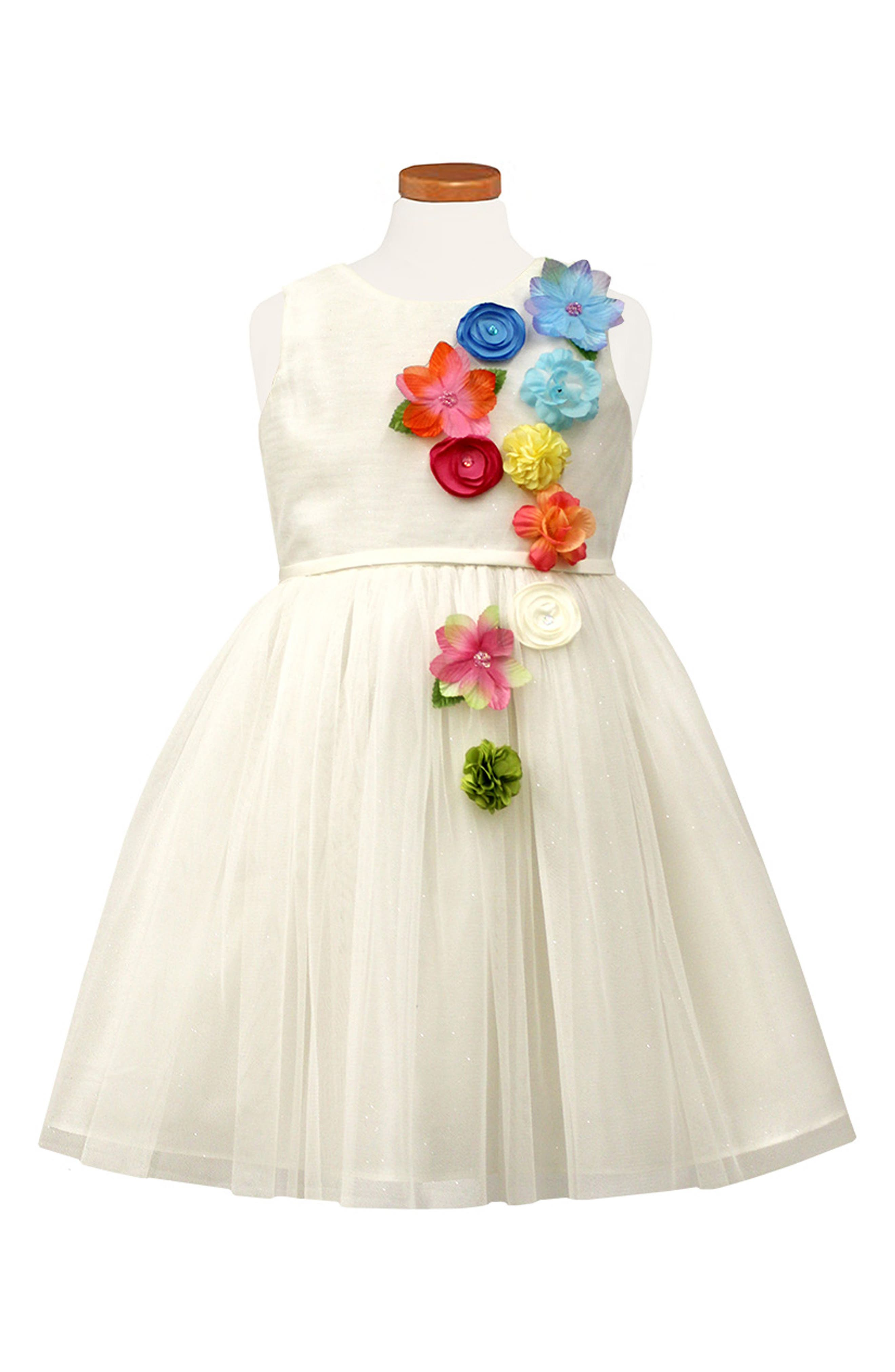 Floral Fit & Flare Dress,                         Main,                         color, WHITE