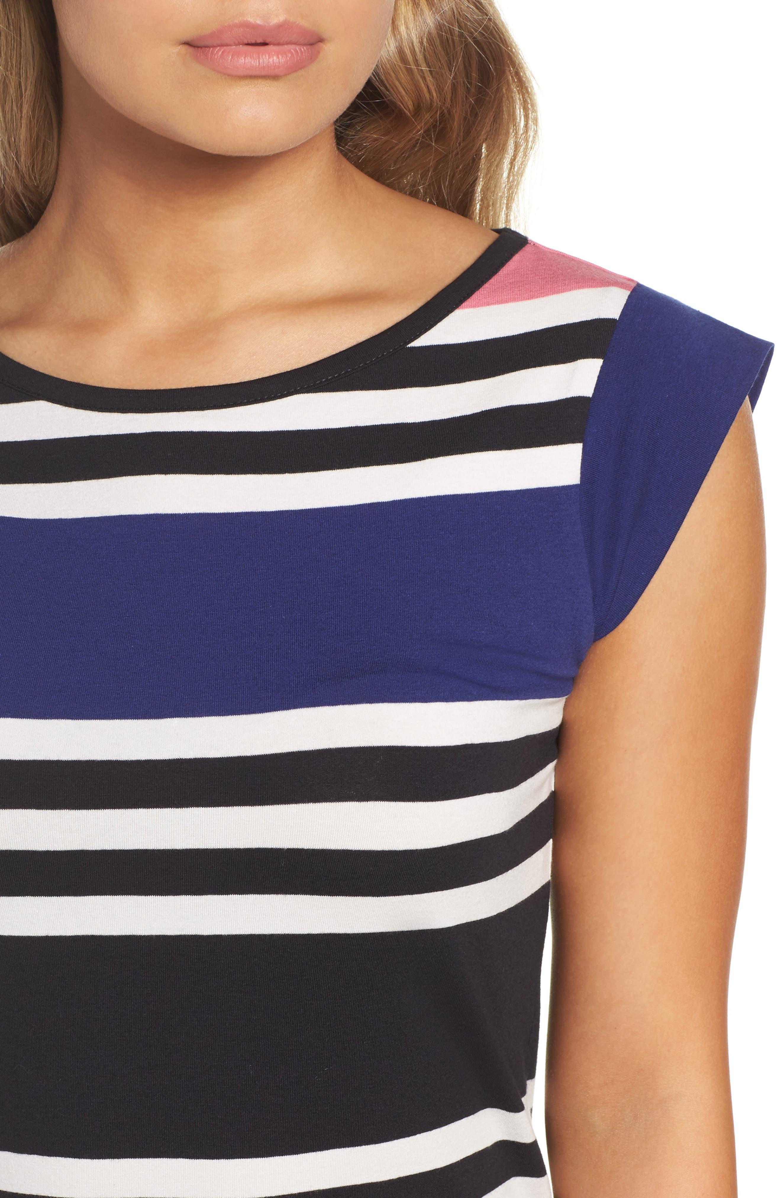Multi Jag Stripe T-Shirt Dress,                             Alternate thumbnail 4, color,                             471