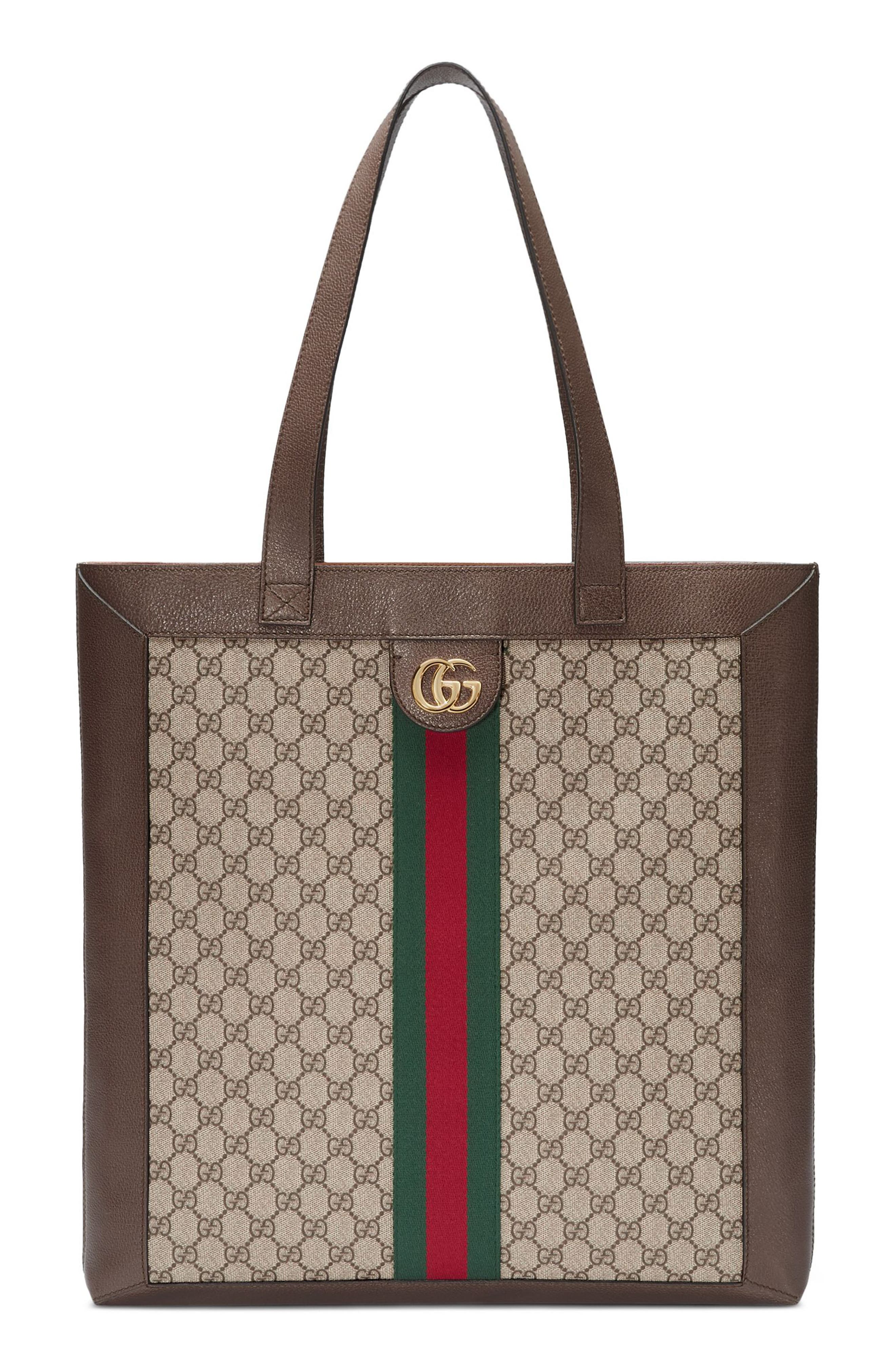 Large GG Supreme Canvas Tote,                             Main thumbnail 1, color,                             BEIGE EBONY/ ACERO/ VERT RED