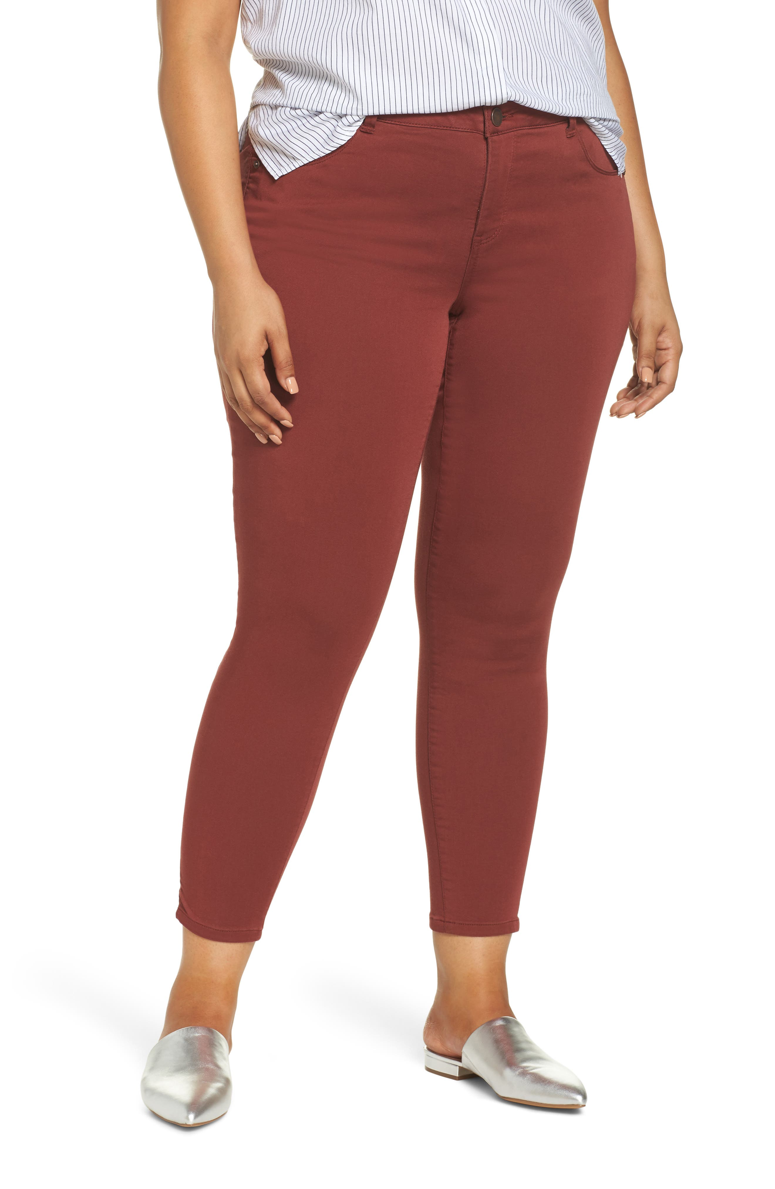 Ab-Solution Ankle Skimmer Jeans,                             Main thumbnail 1, color,                             FIRED BRICK