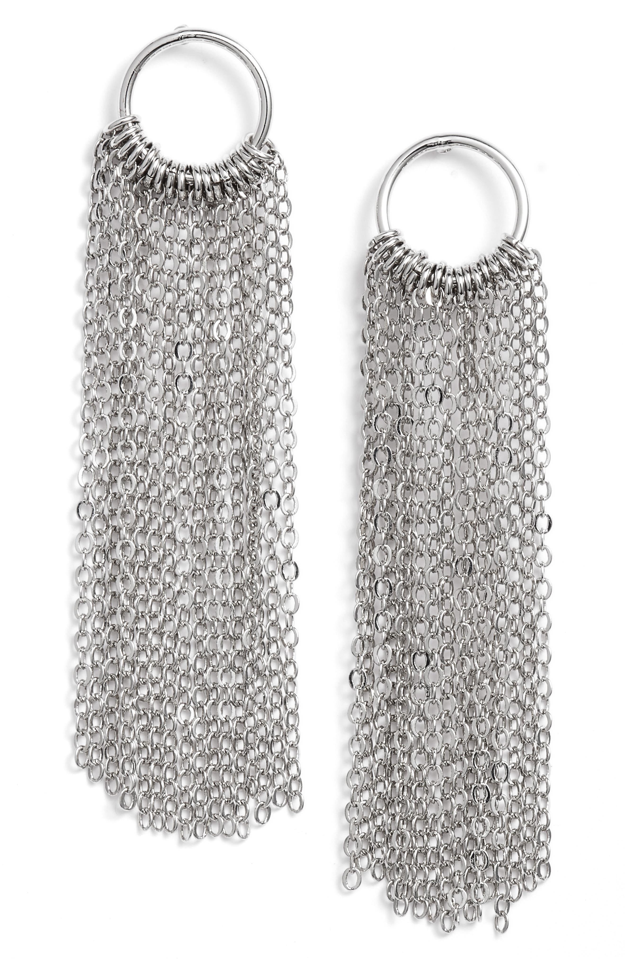 Open Circle Fringe Drop Earrings,                         Main,                         color, 040