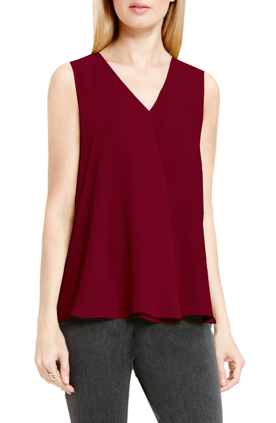 Drape Front V-Neck Sleeveless Blouse,                             Main thumbnail 21, color,