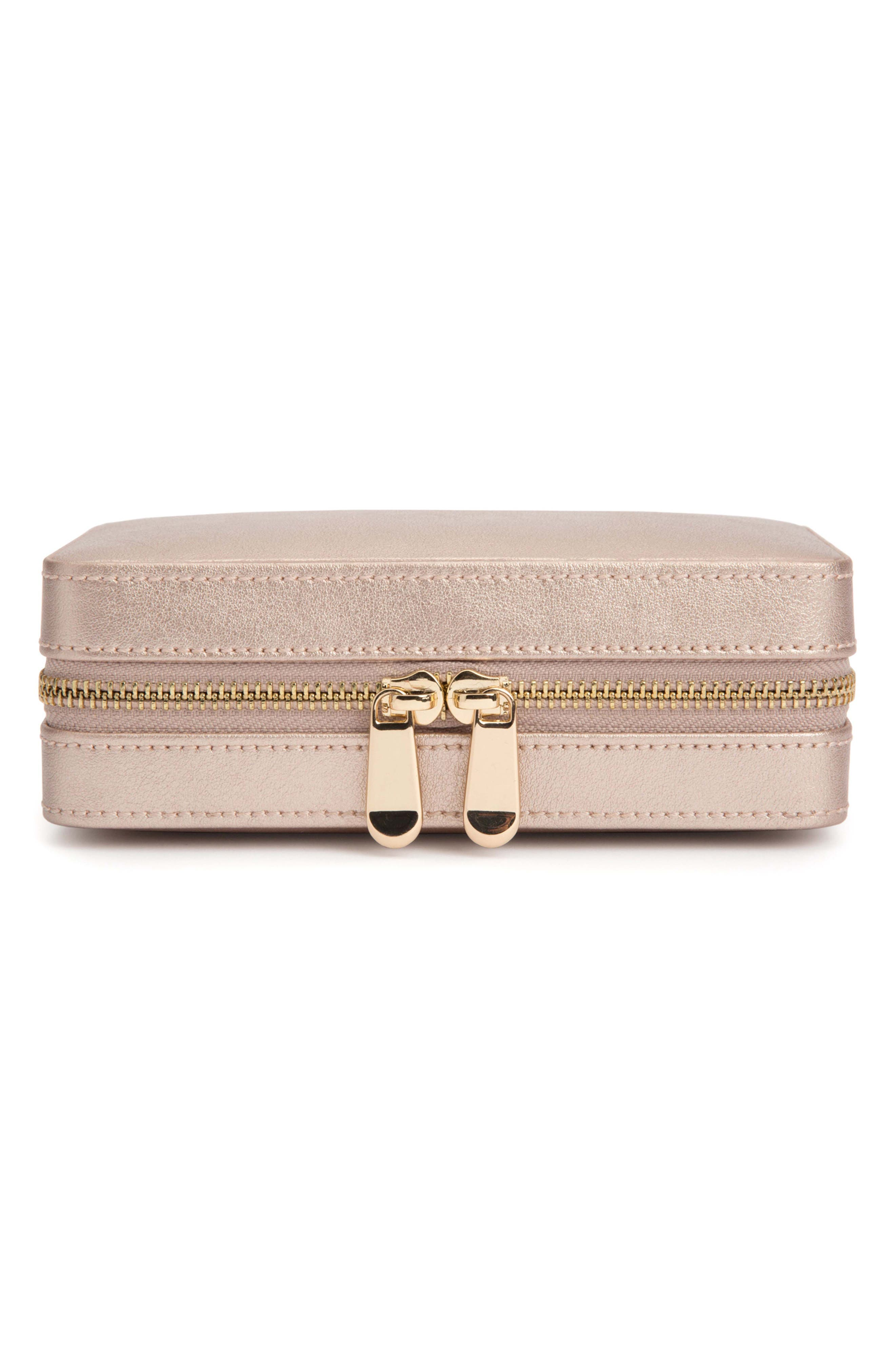 Palermo Zip Jewelry Case,                             Main thumbnail 1, color,                             ROSE GOLD