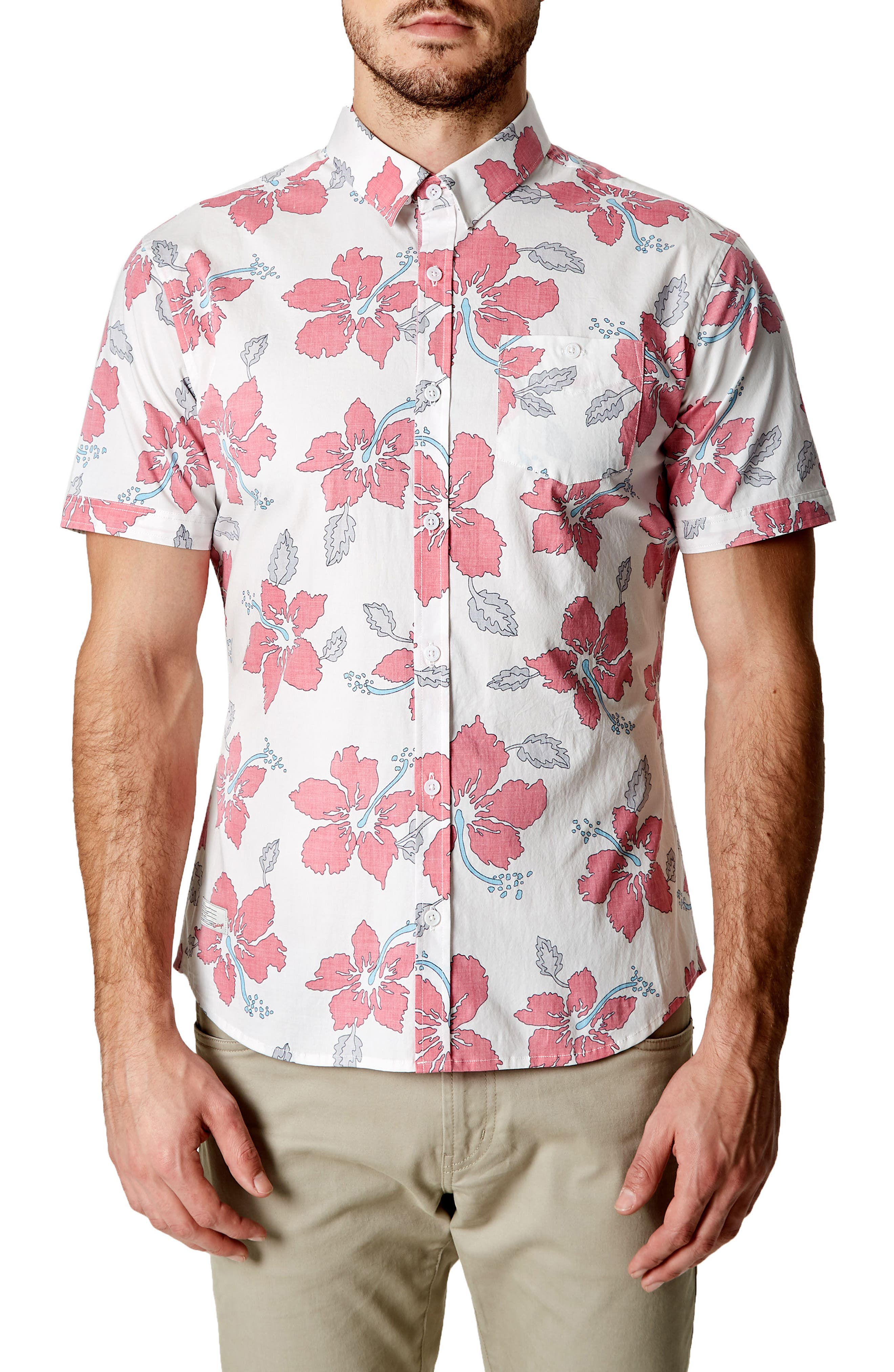 Mind Shaft Trim Fit Floral Sport Shirt,                         Main,                         color, 600
