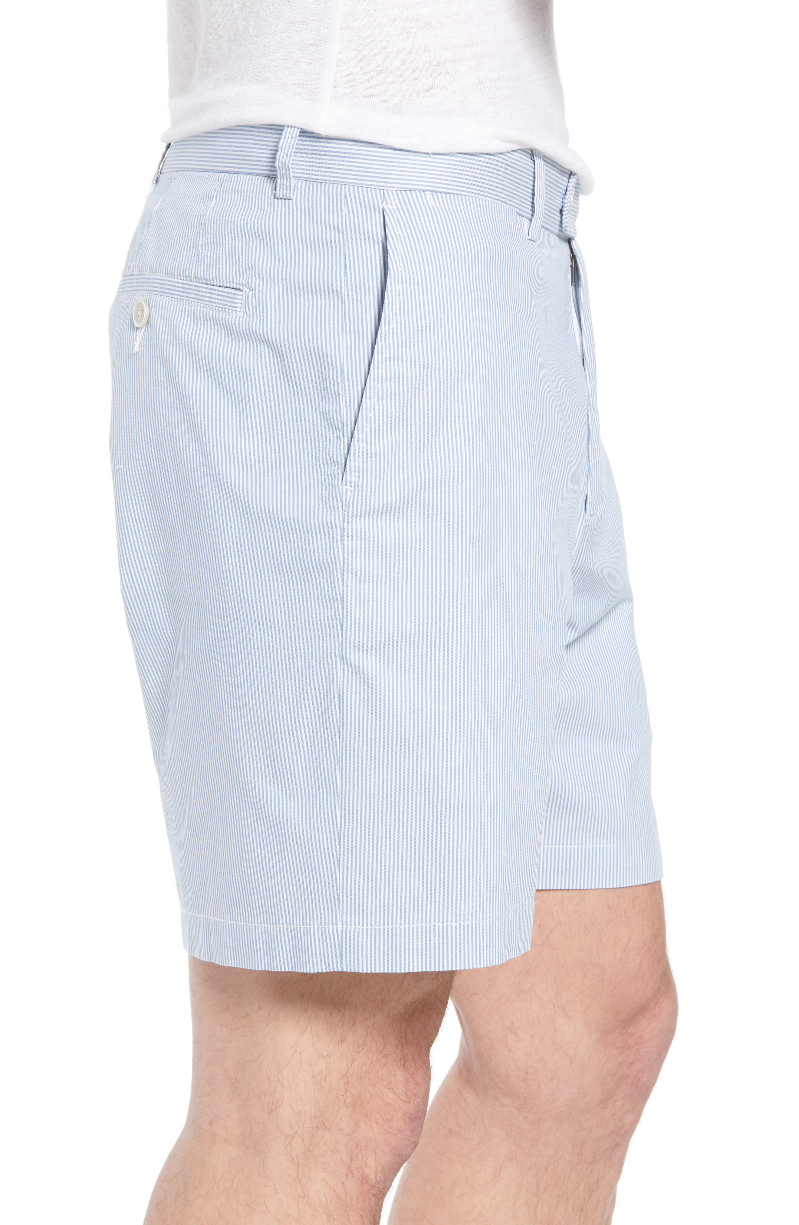 Summer Pinstripe Flat Front Shorts,                             Alternate thumbnail 3, color,                             439