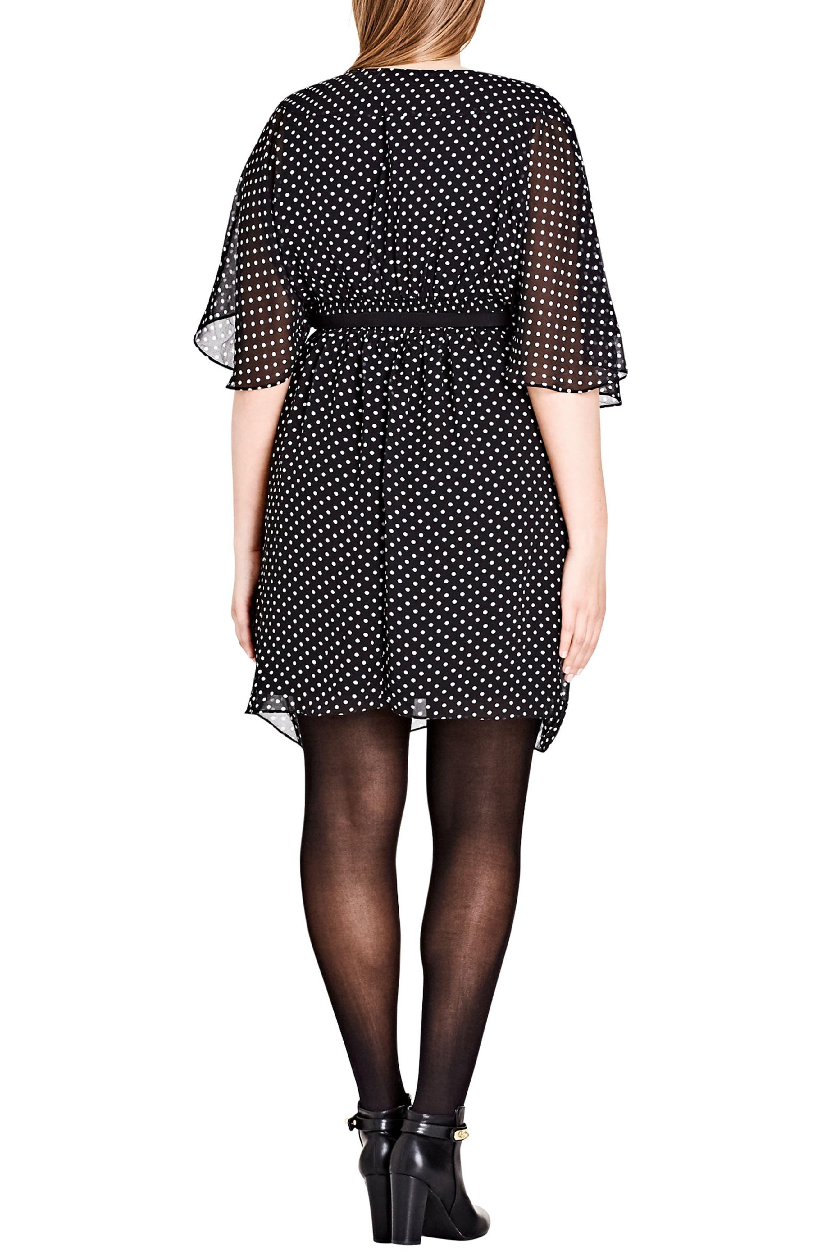 Polka Dot Faux Wrap Dress,                             Alternate thumbnail 2, color,                             PIN SPOT