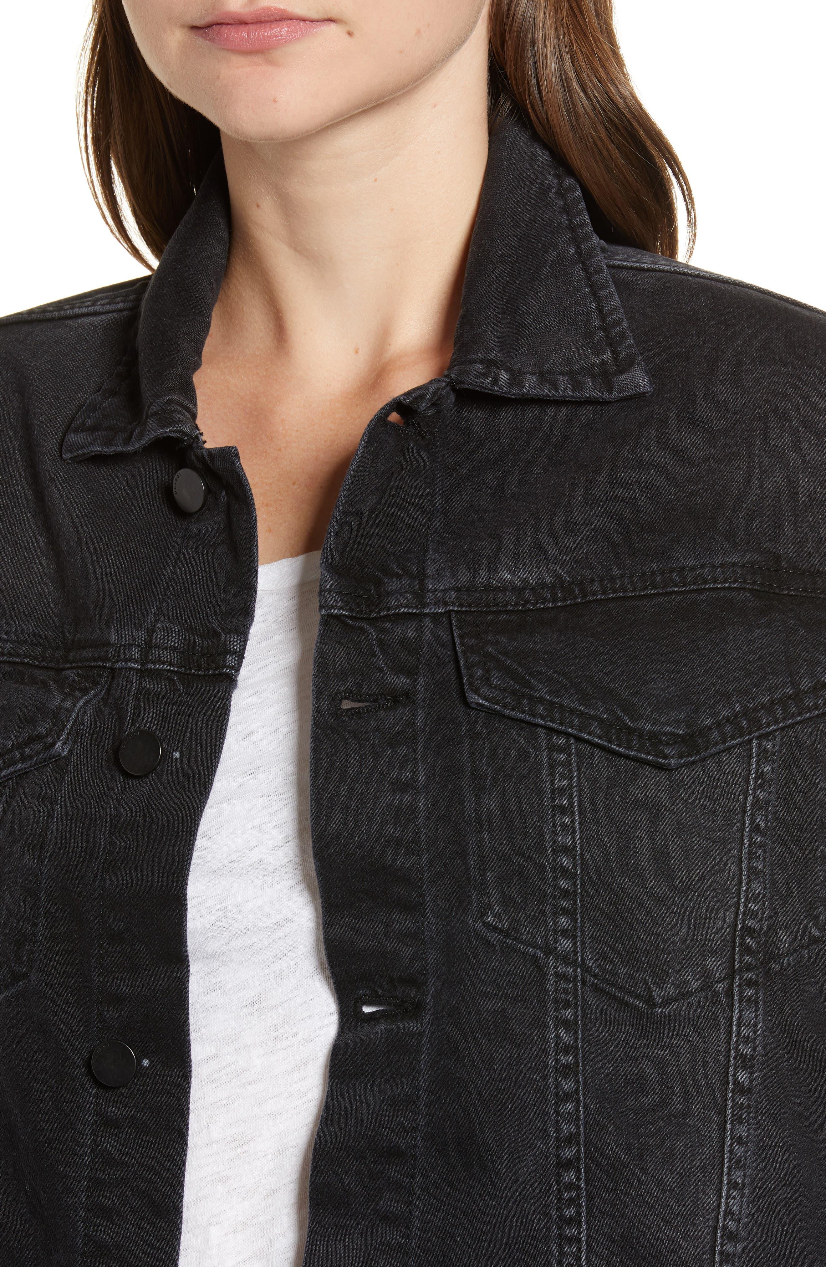 Annie Crop Denim Jacket,                             Alternate thumbnail 4, color,                             BLACKBURN