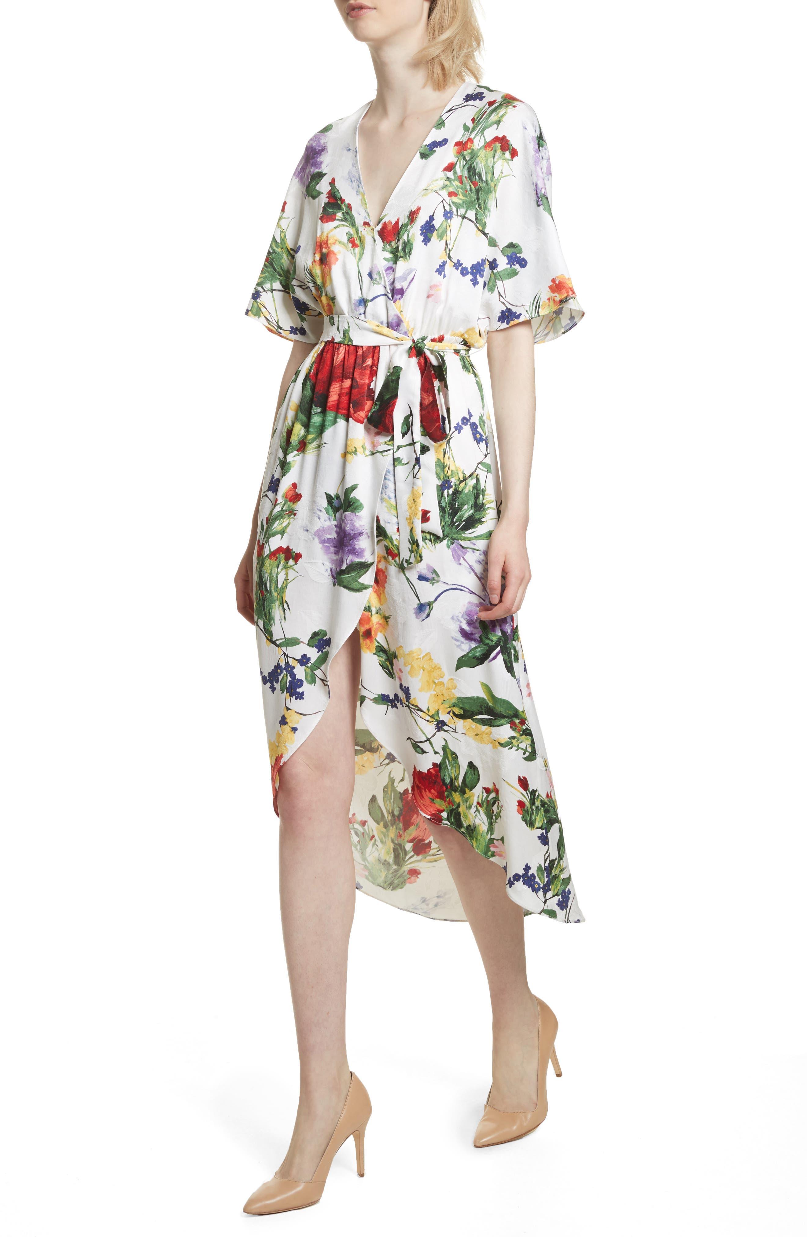 Clarine Floral Wrap Midi Dress,                             Alternate thumbnail 4, color,                             176