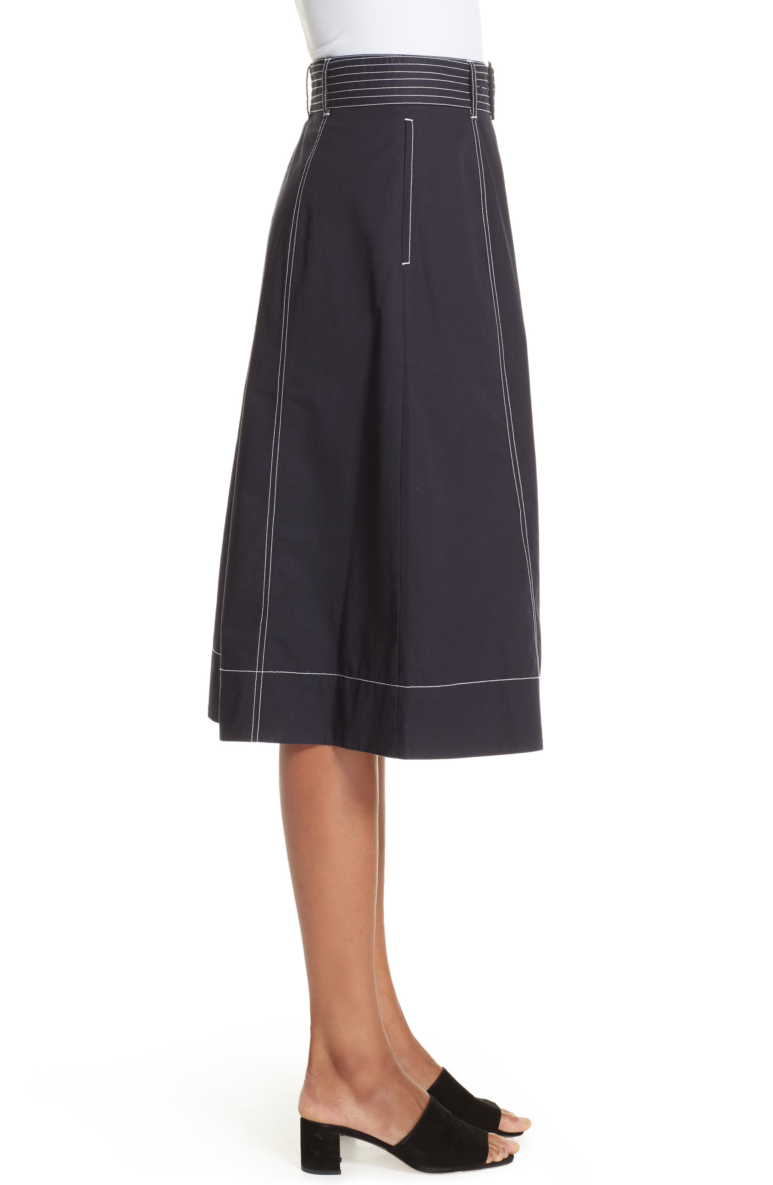 Mayaly Belted Cotton Skirt,                             Alternate thumbnail 3, color,                             MIDNIGHT