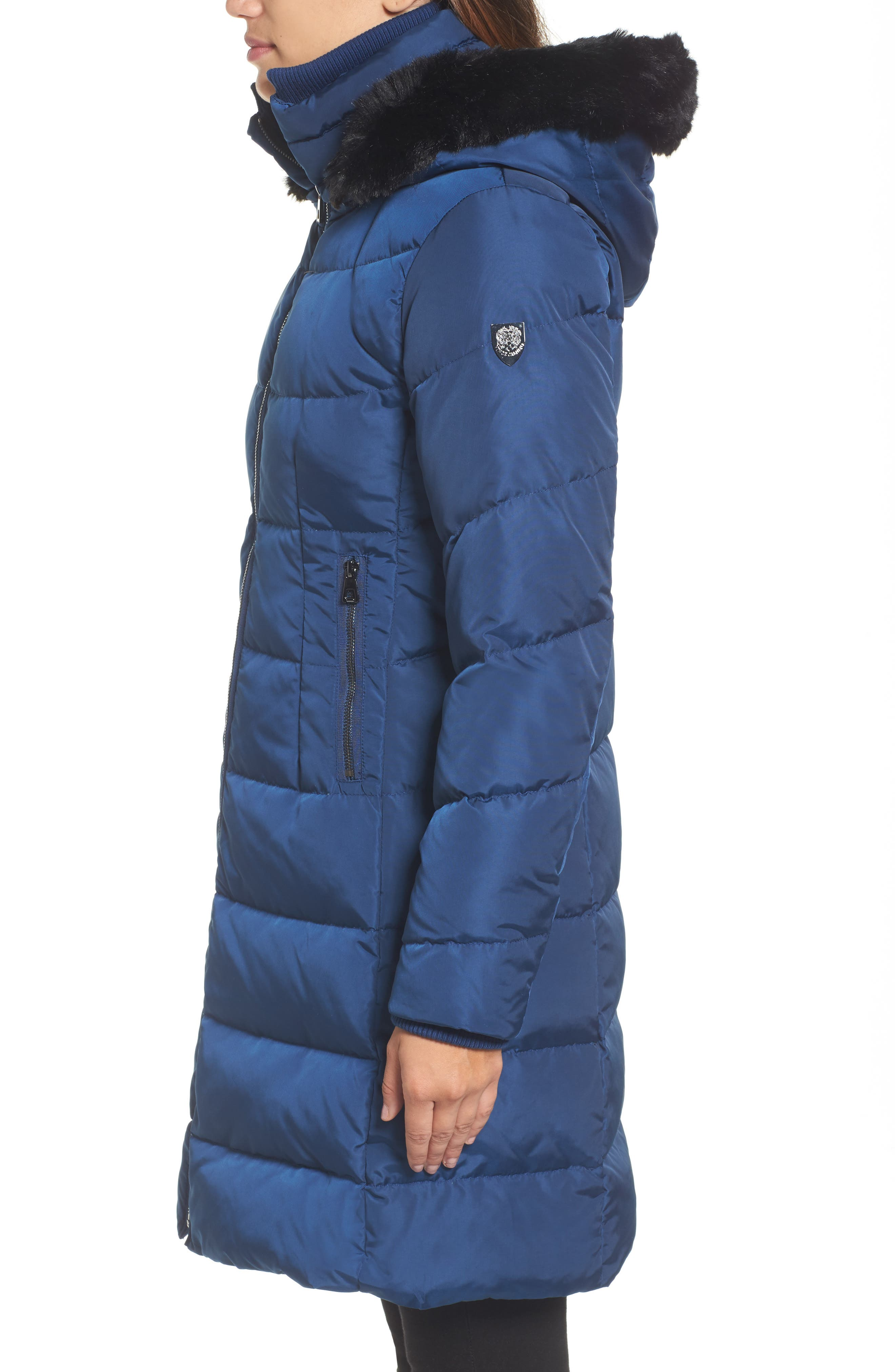 Down & Feather Fill Coat with Faux Fur Trim Hood,                             Alternate thumbnail 3, color,                             418