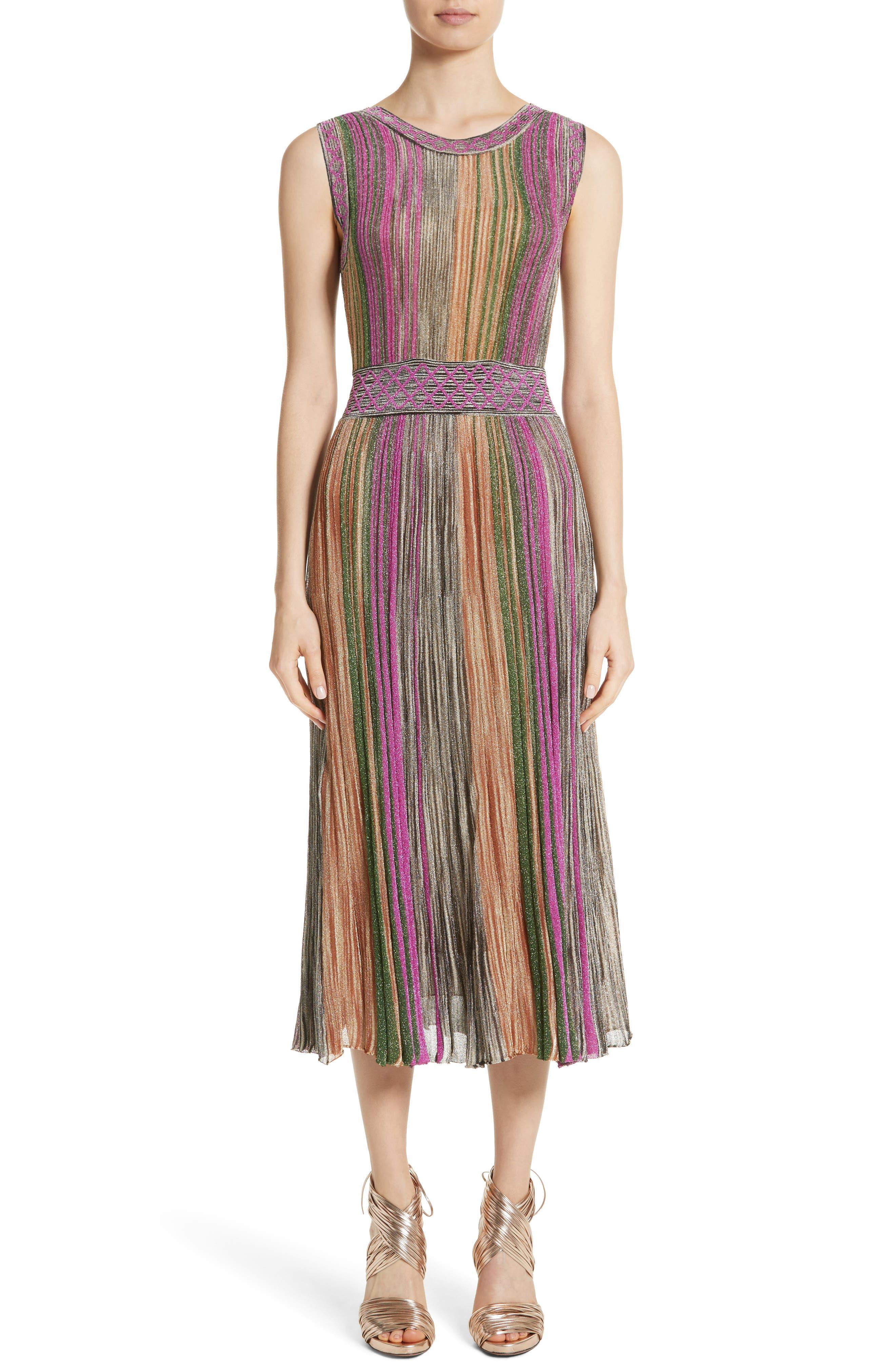 Reversible Metallic Stripe Knit Midi Dress,                             Alternate thumbnail 3, color,                             010