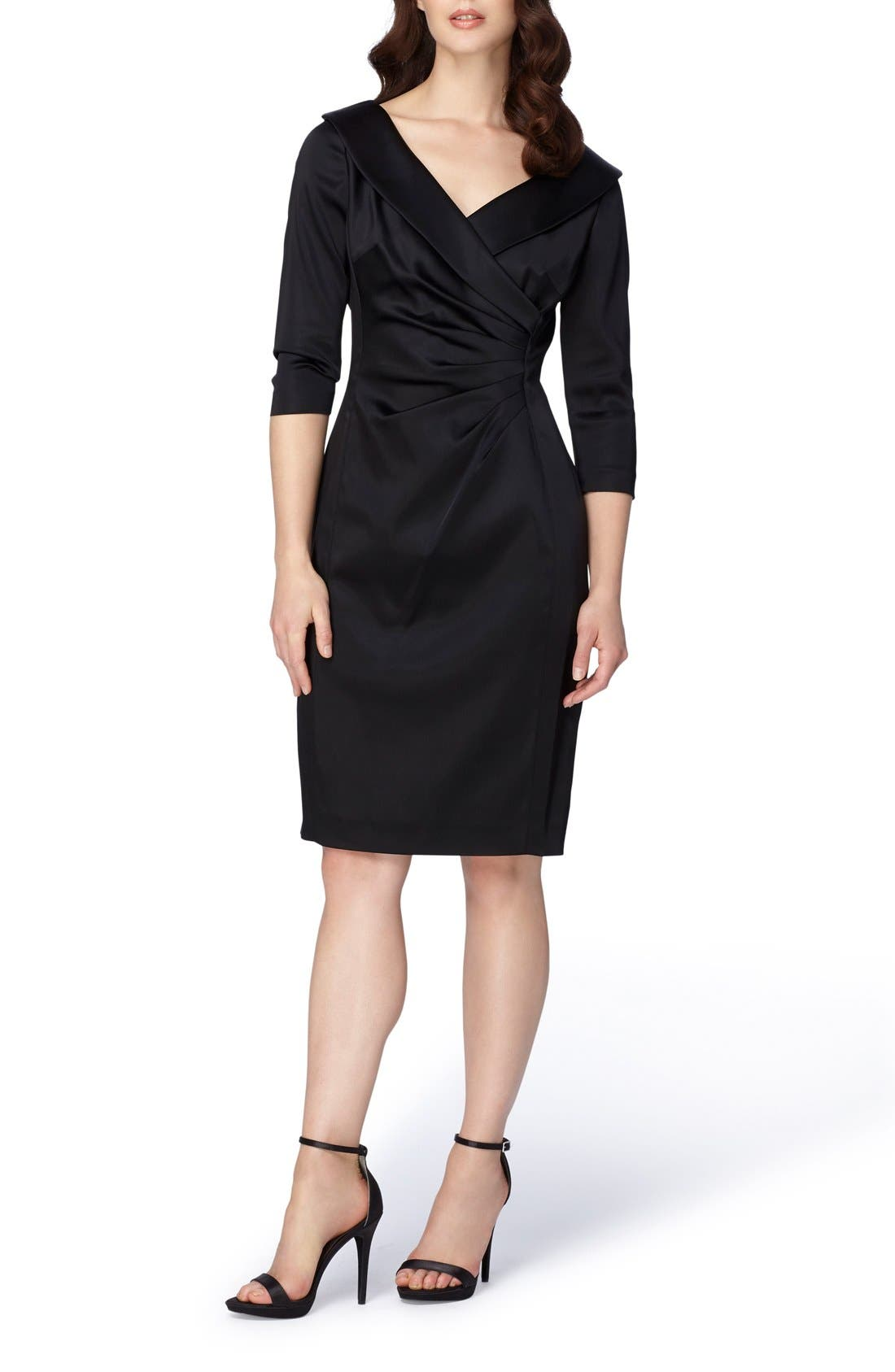 Portrait Collar Satin Sheath Dress,                         Main,                         color, 001