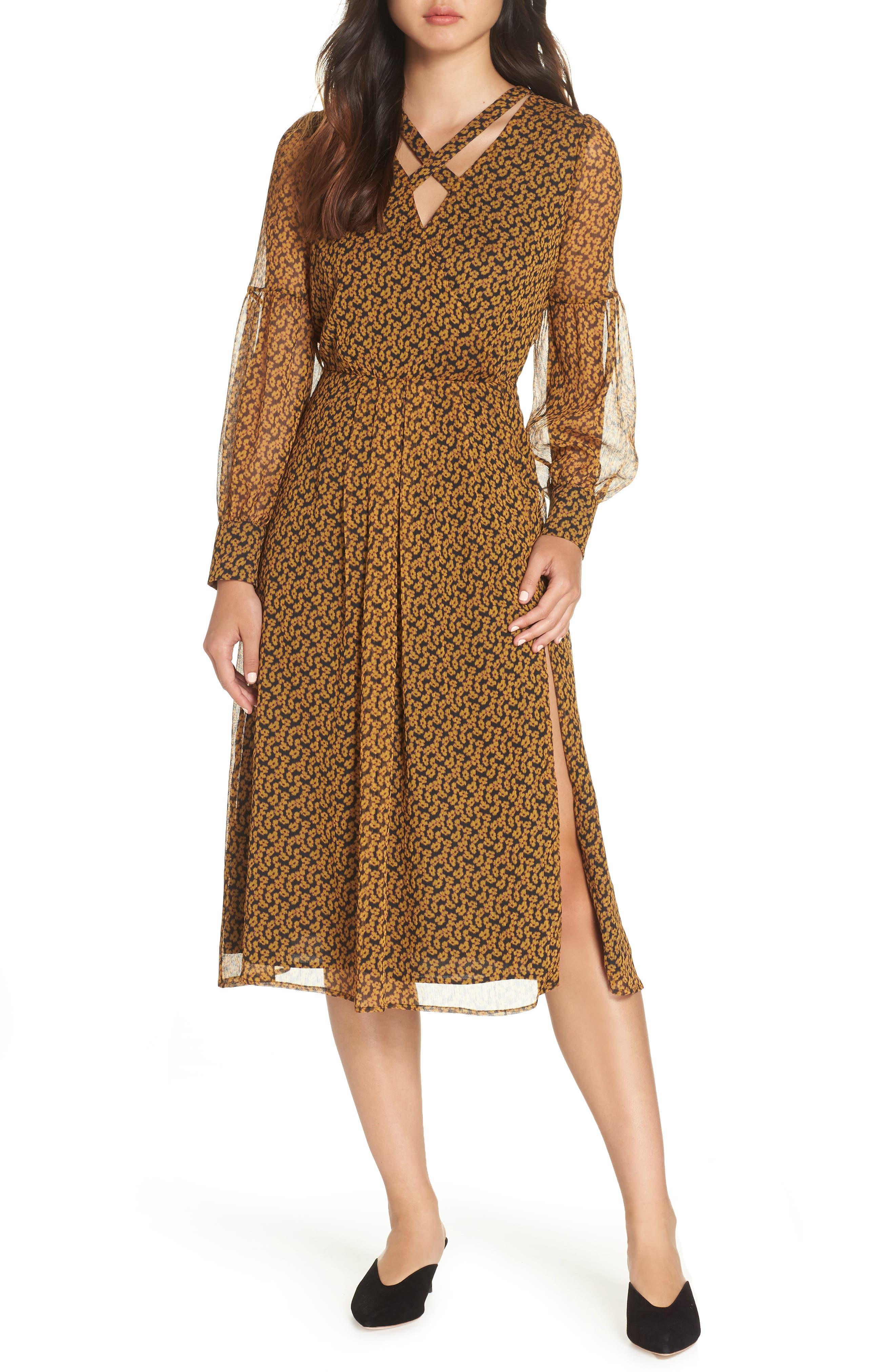 Floral Print Side Slit Midi Dress,                         Main,                         color, MARIGOLD