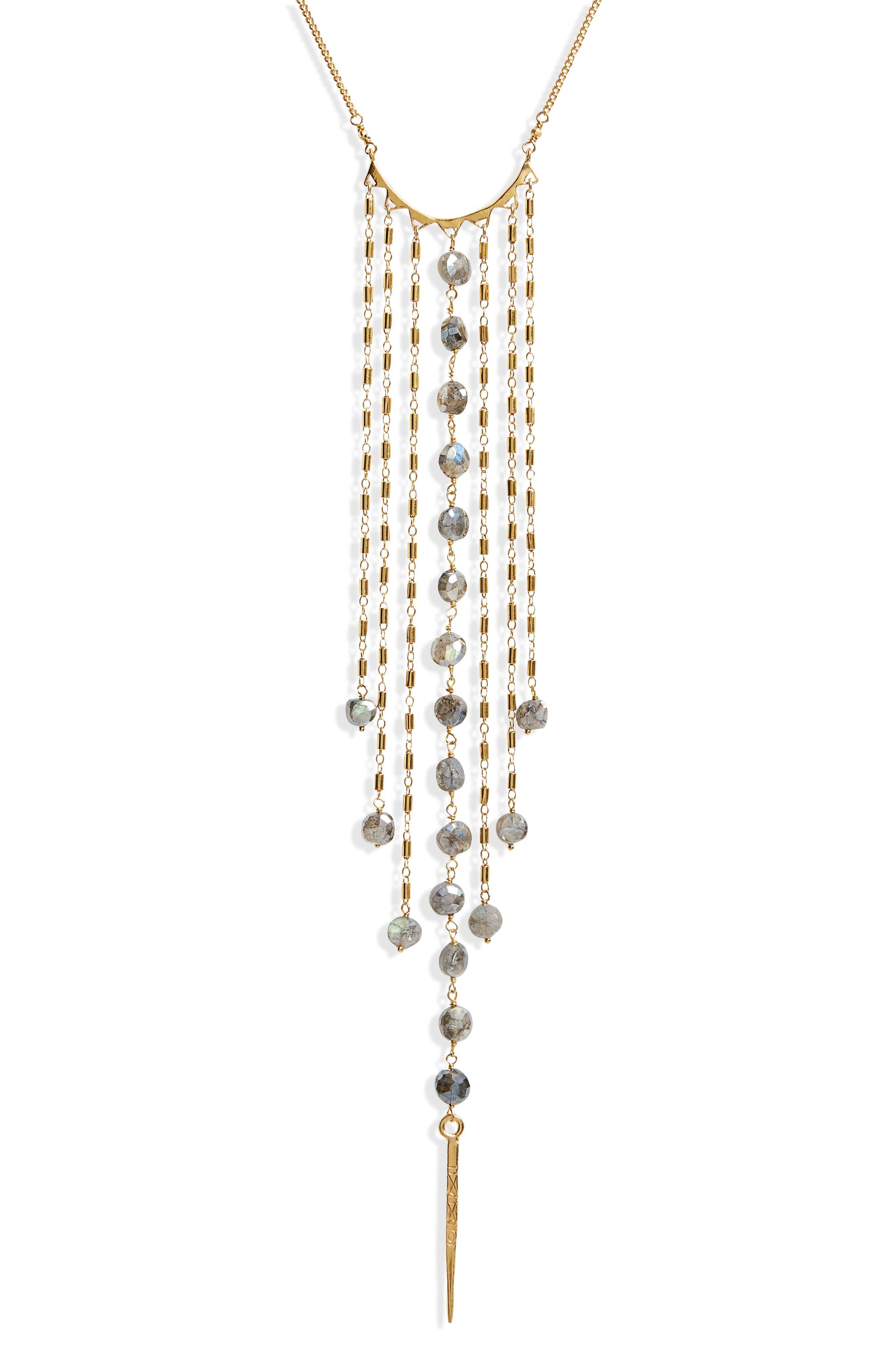 Mystic Labradorite Fringe Necklace,                         Main,                         color, 710