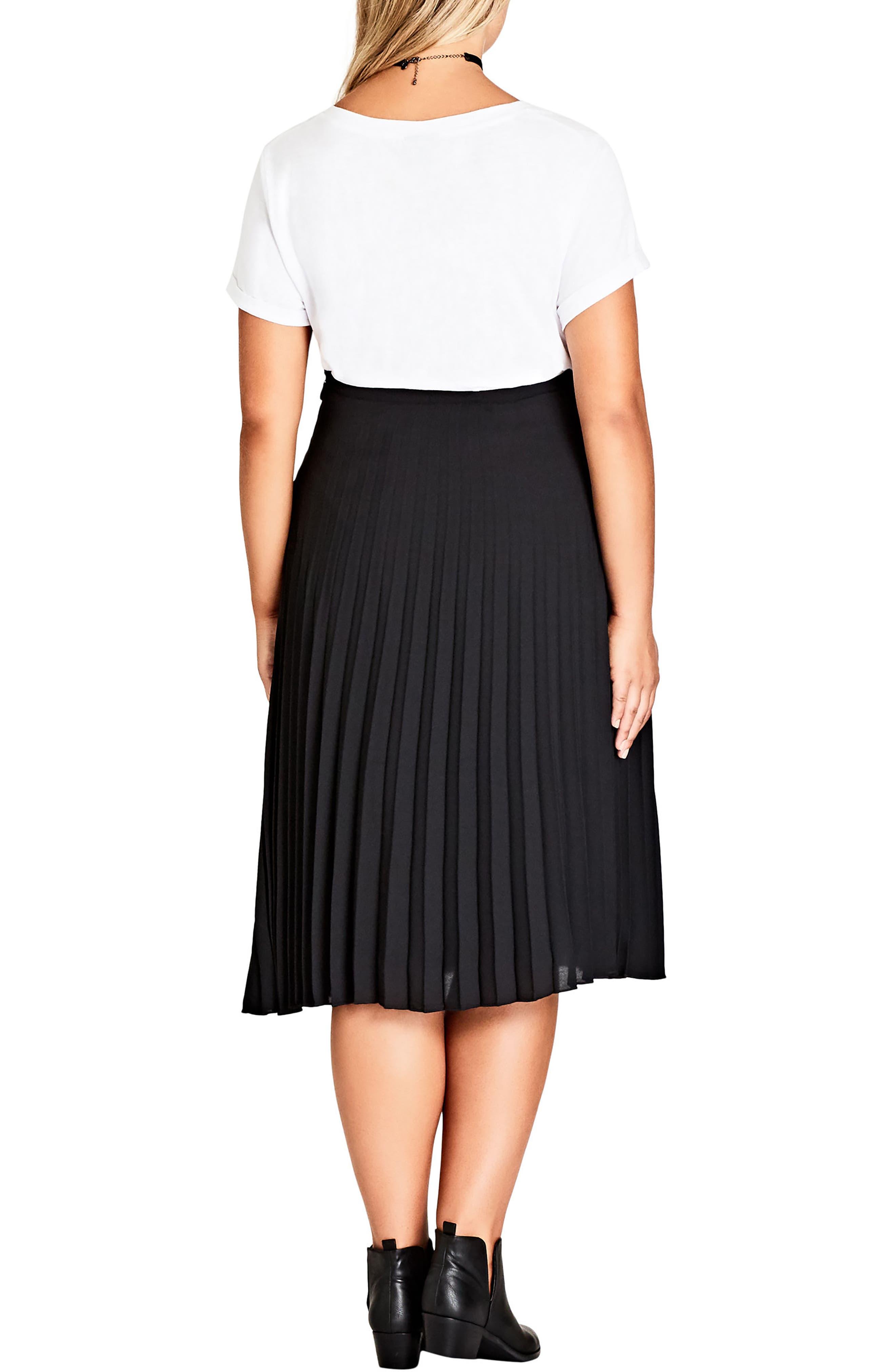 Sheer Pleat Skirt,                             Alternate thumbnail 2, color,                             001