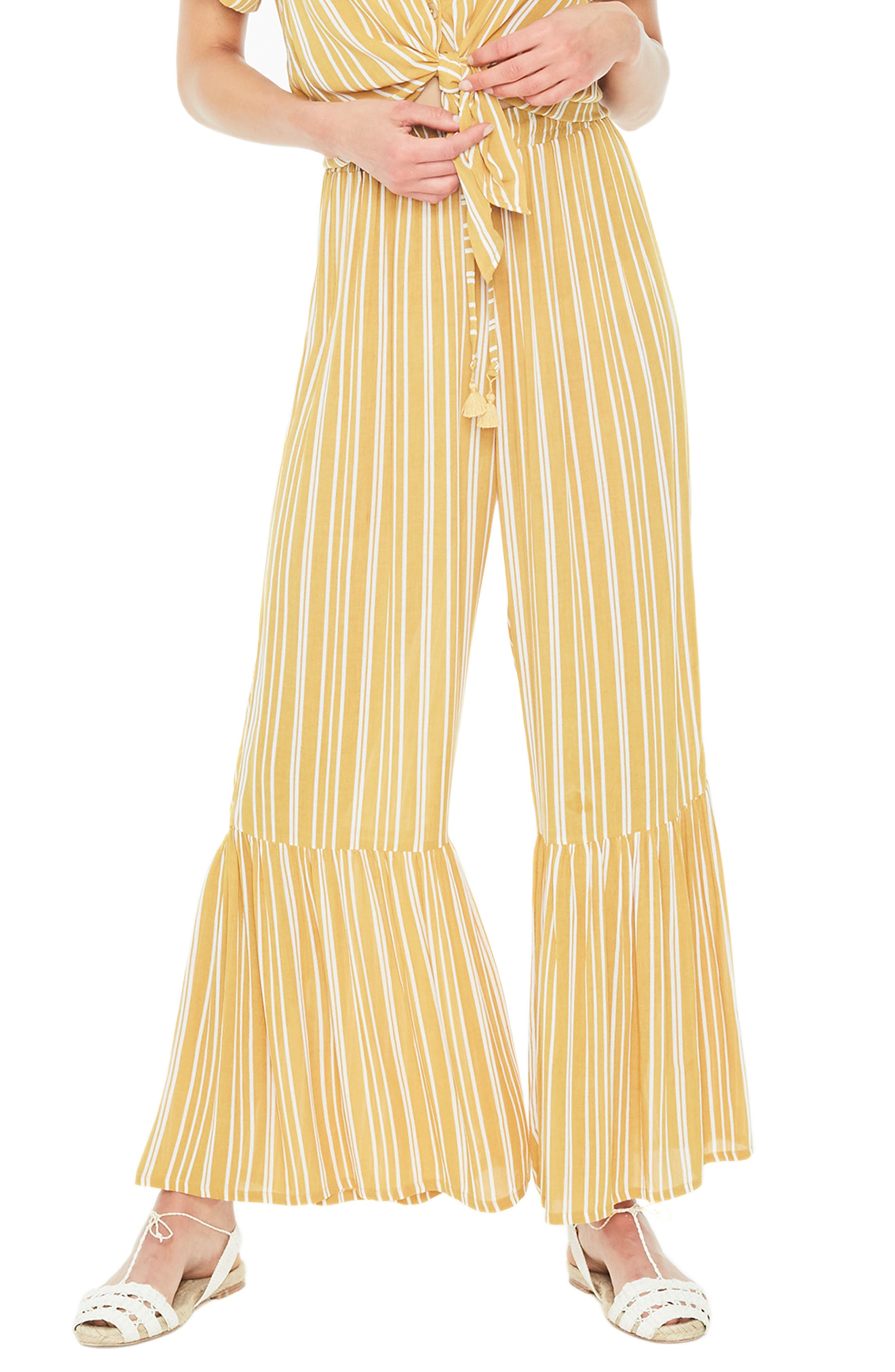 Faithfull The Brand Bisou Stripe Flare Hem Pants, Yellow