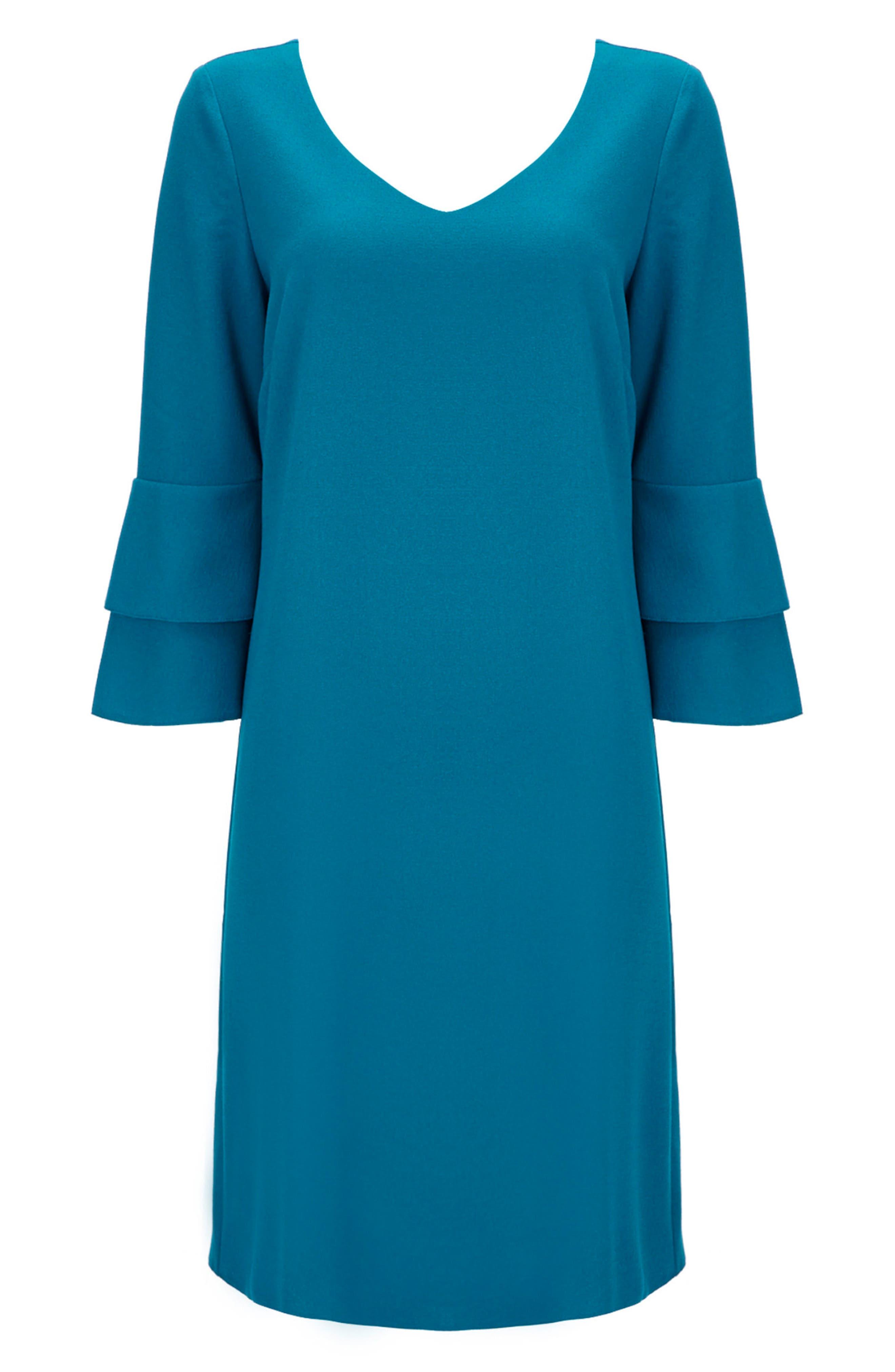 Bell Sleeve Shift Dress,                             Alternate thumbnail 5, color,                             440