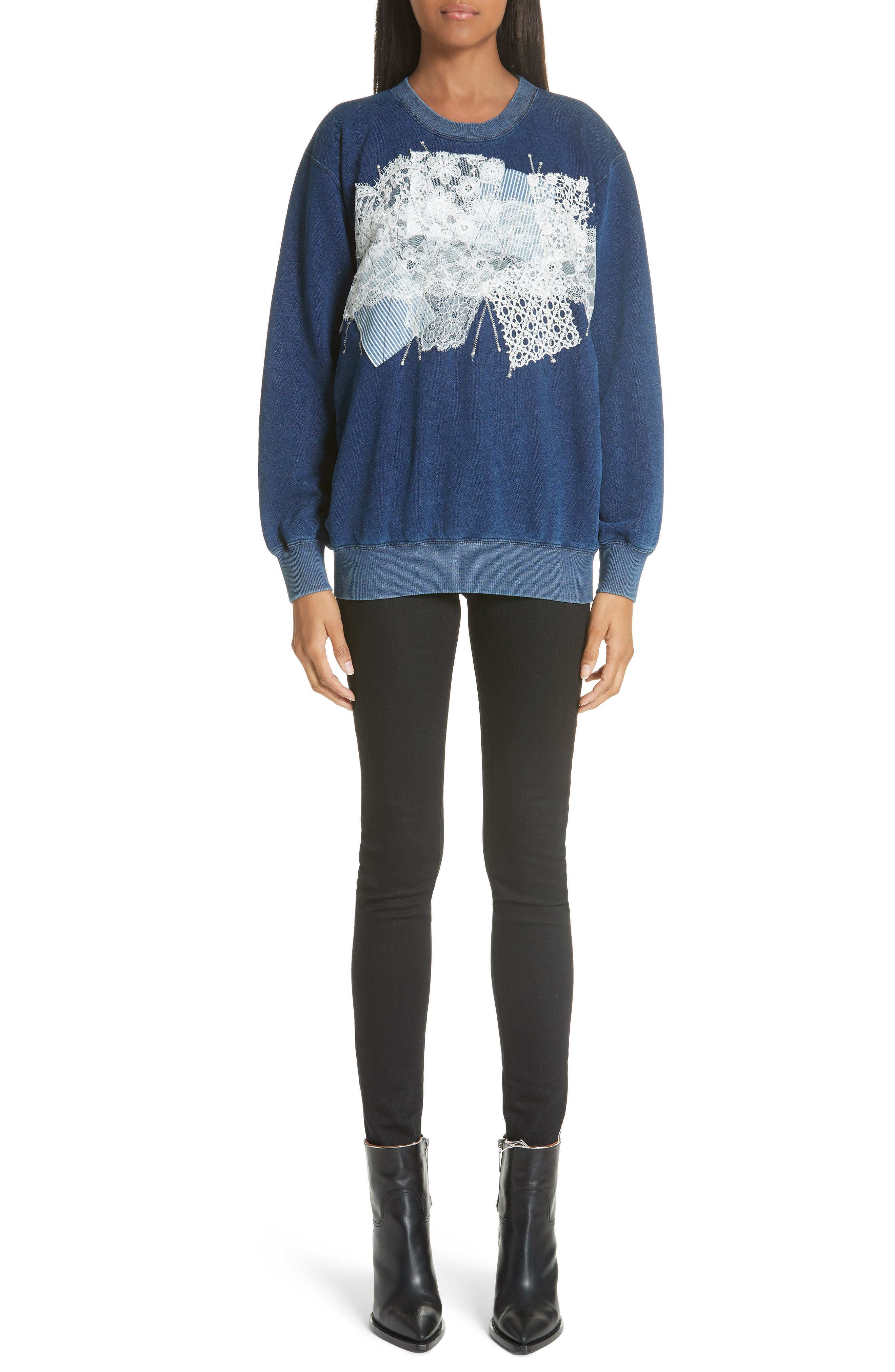 Lace Patch Sweatshirt,                             Alternate thumbnail 7, color,                             400