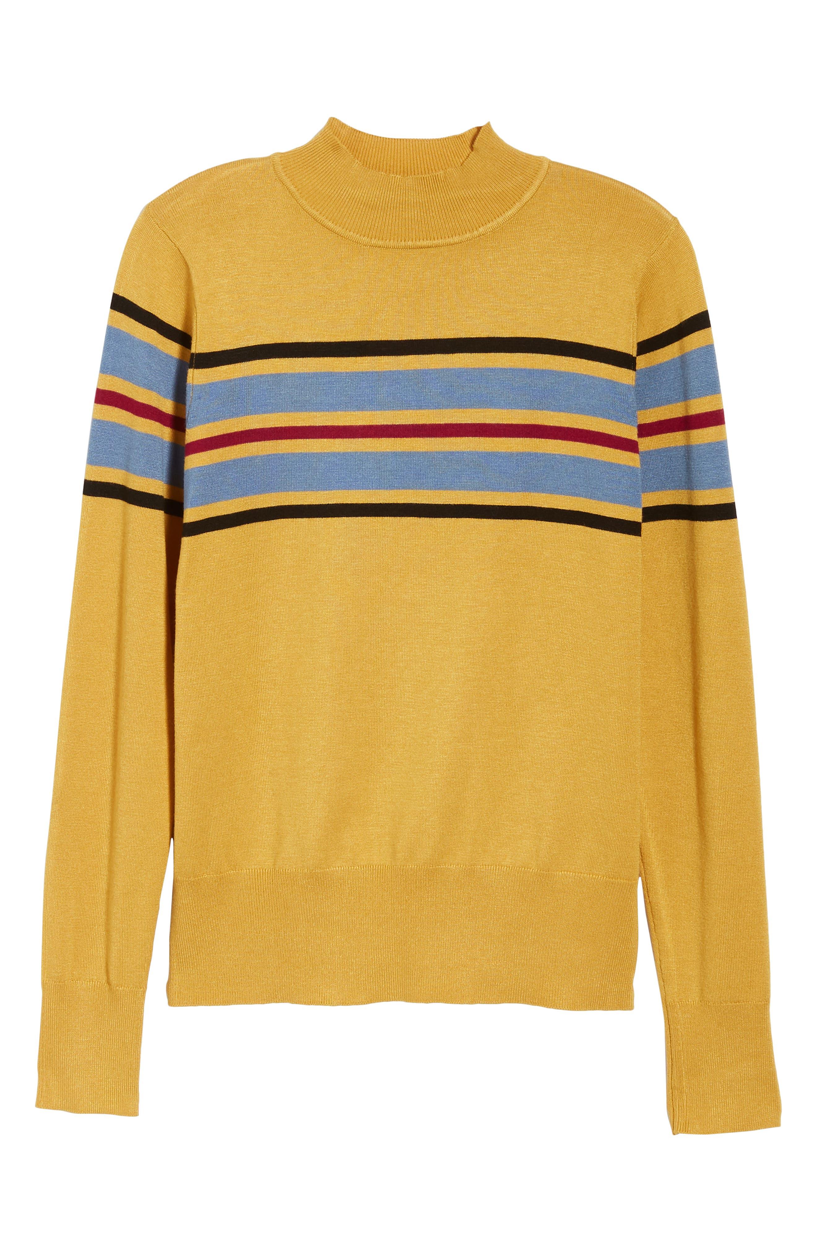 Skivvy Stripe Sweater,                             Alternate thumbnail 6, color,                             MUSTARD