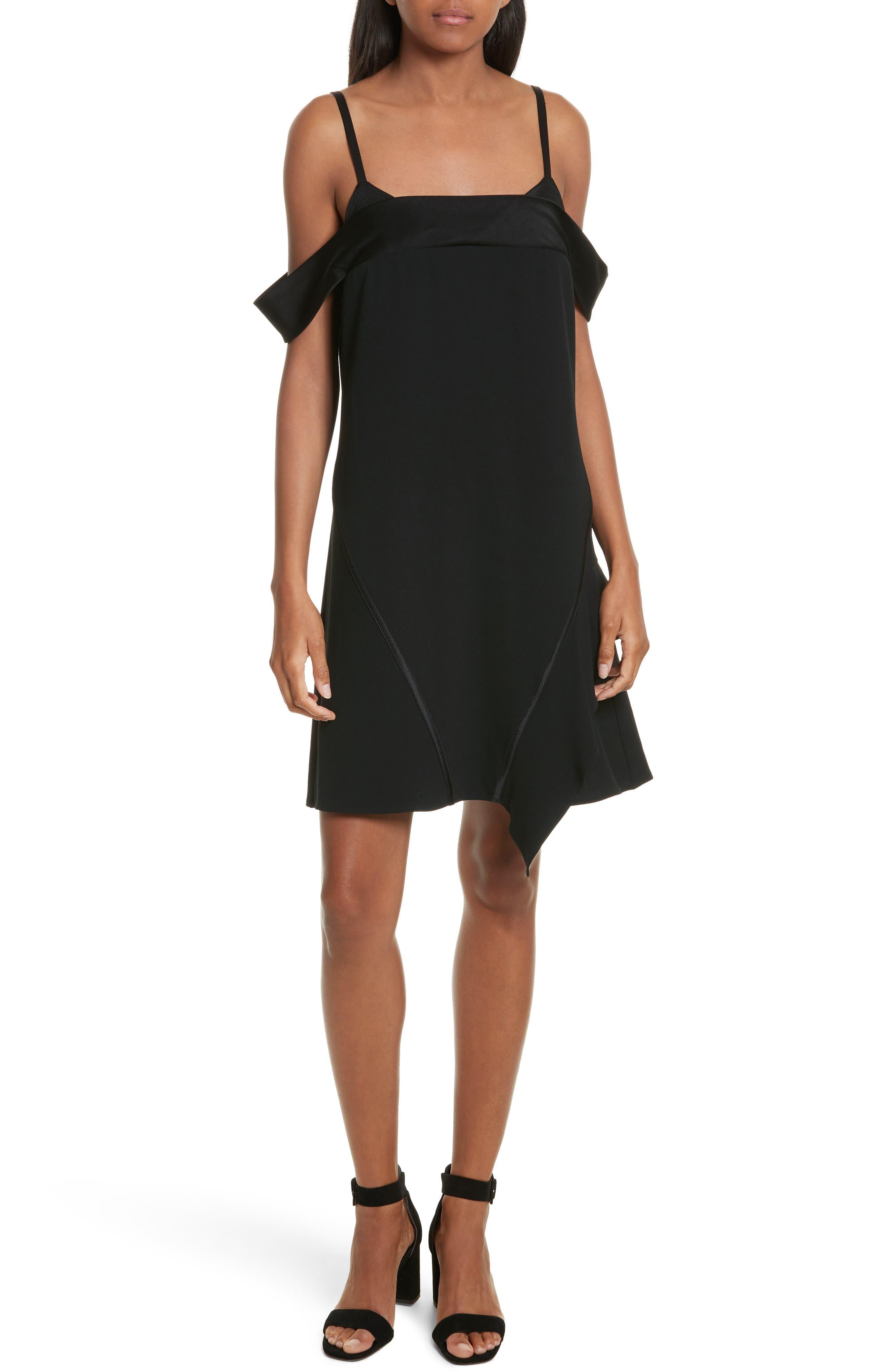 Satin Back Crepe Off the Shoulder Dress,                         Main,                         color, 002