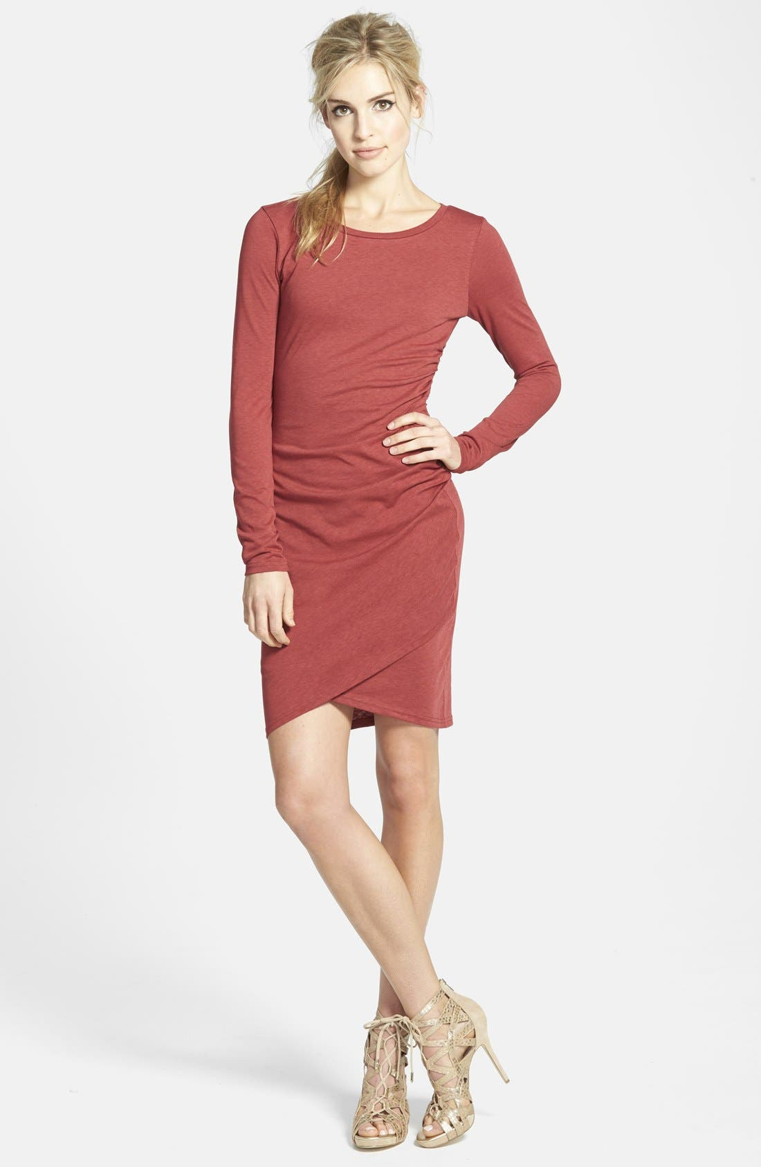 Ruched Long Sleeve Dress,                             Main thumbnail 18, color,