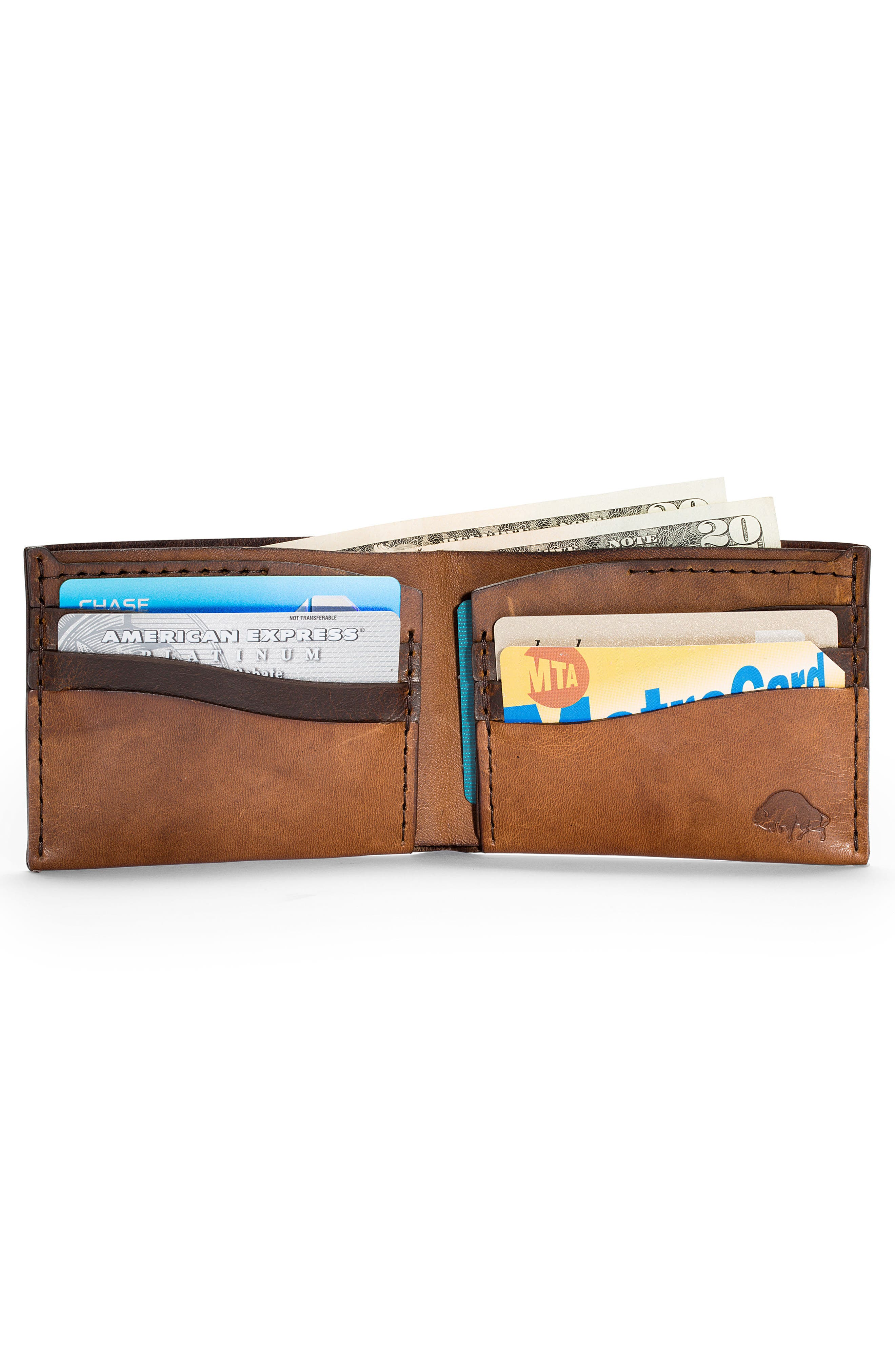 No. 8 Leather Wallet,                             Alternate thumbnail 2, color,                             WHISKEY