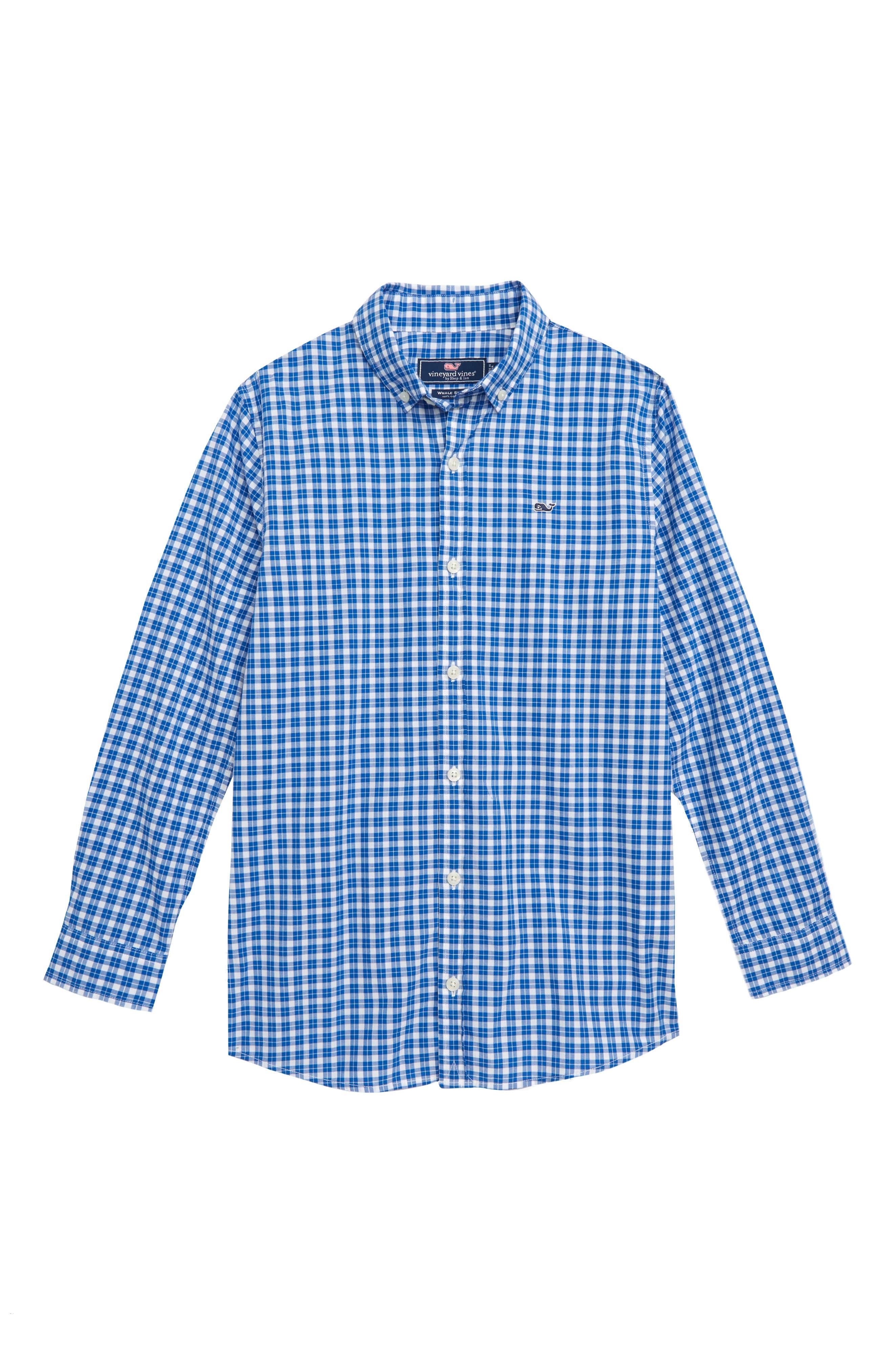 Eagle Hill Poplin Whale Shirt,                         Main,                         color, YACHT BLUE