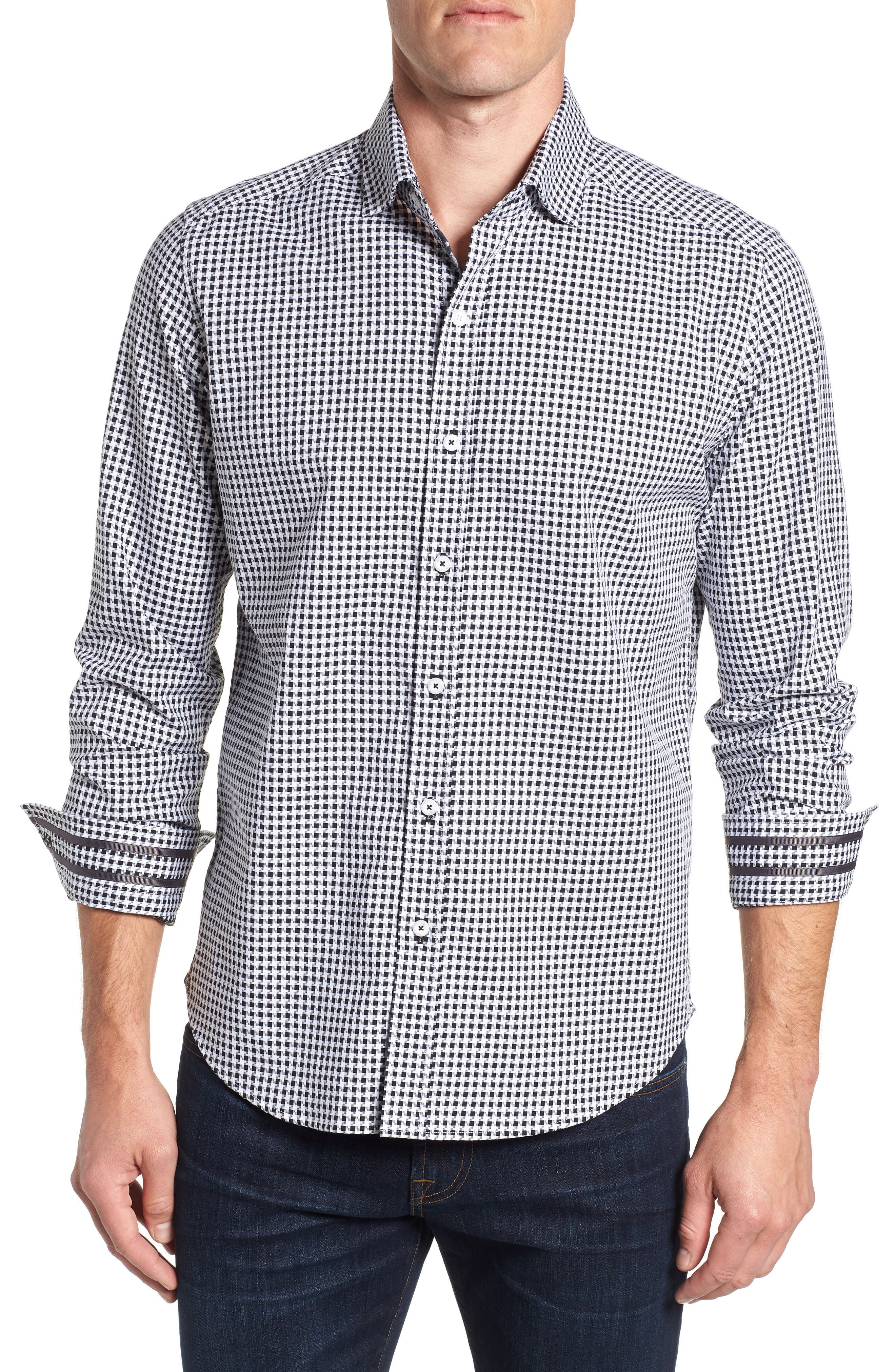 Emmett Tailored Fit Sport Shirt,                             Main thumbnail 1, color,                             BLACK
