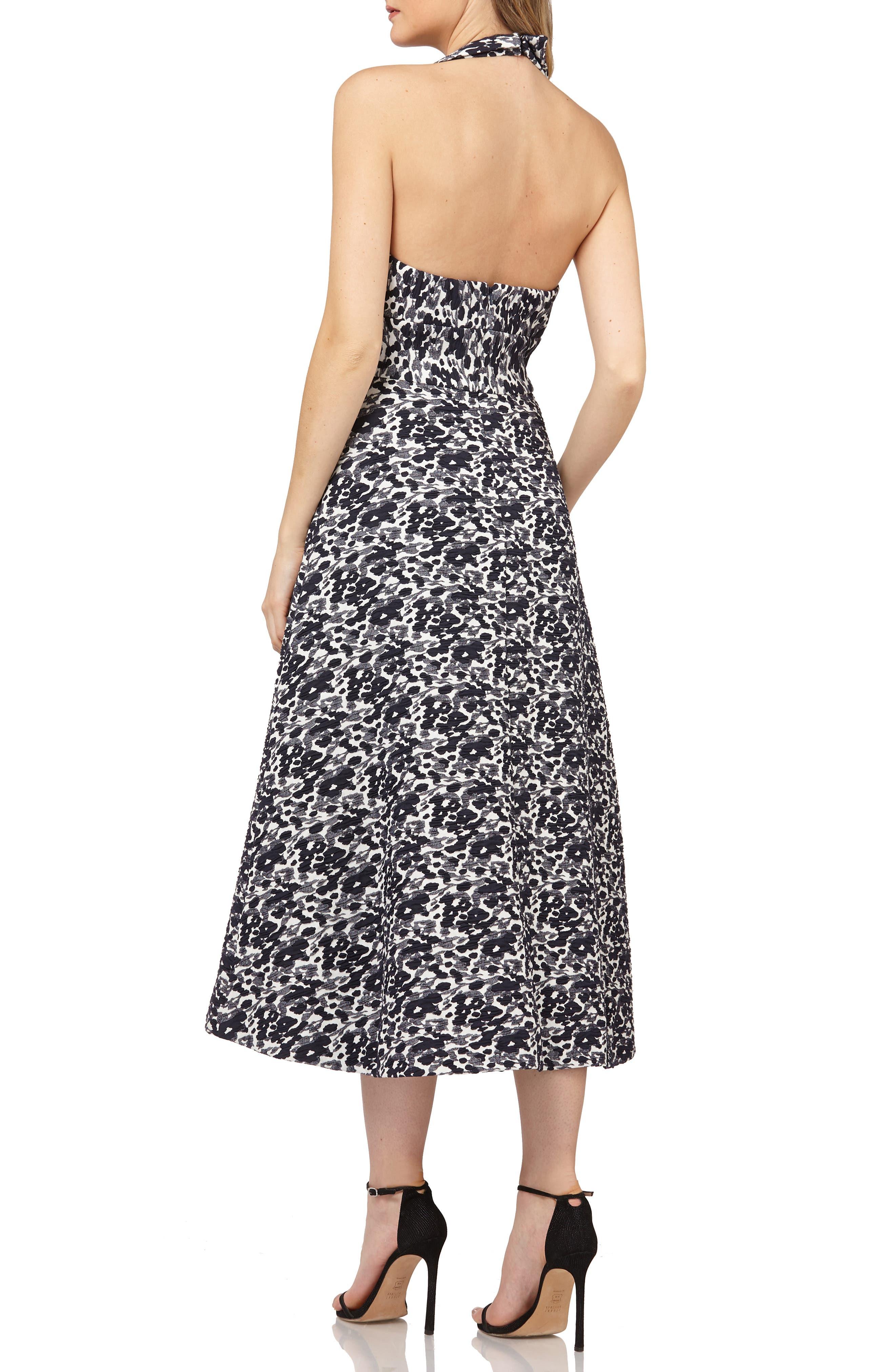 Halter Tea Length Dress,                             Alternate thumbnail 2, color,                             NAVY MULTI