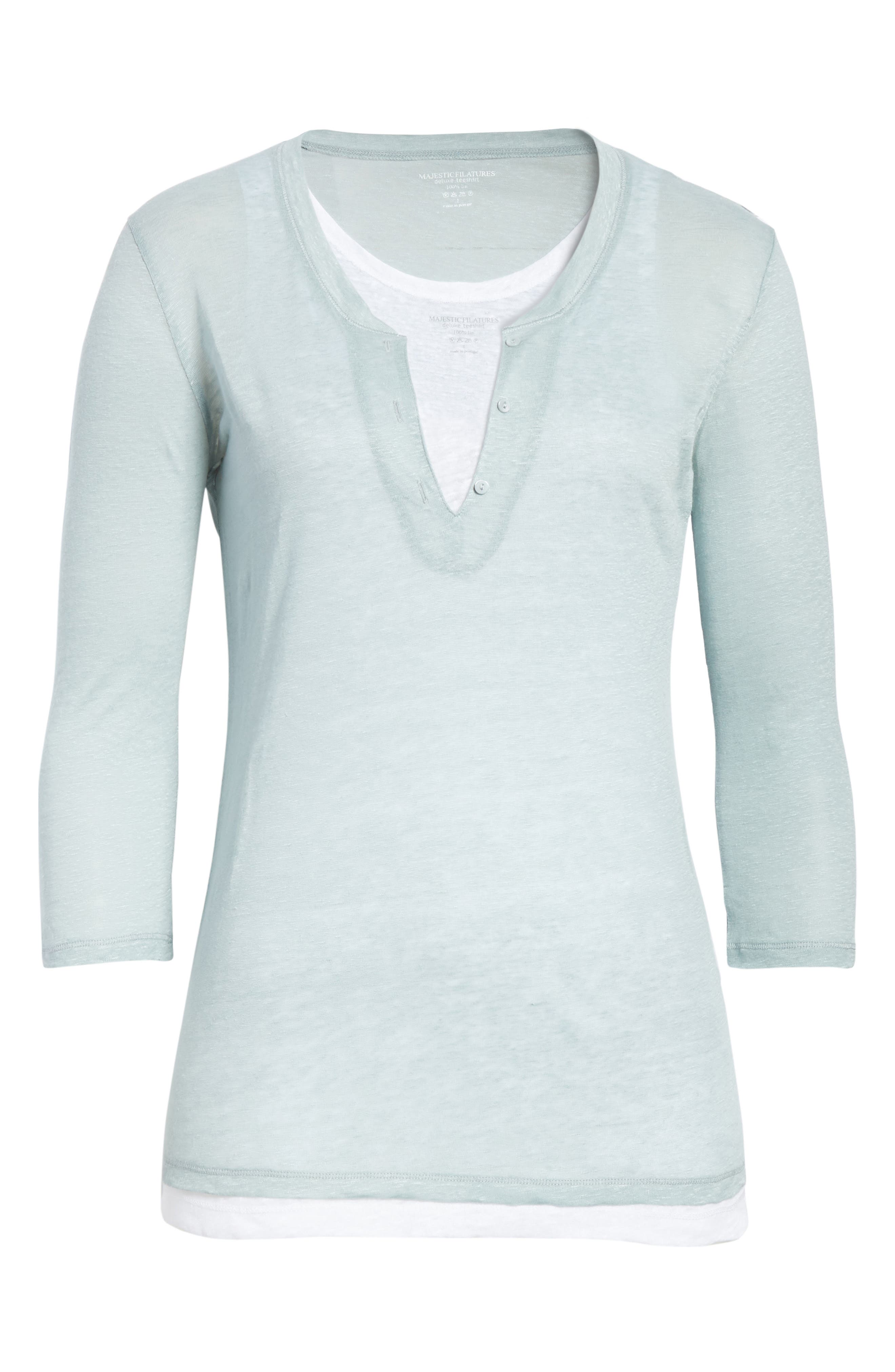 Double Layer Henley Top,                             Alternate thumbnail 6, color,                             ECUME/ BLANC