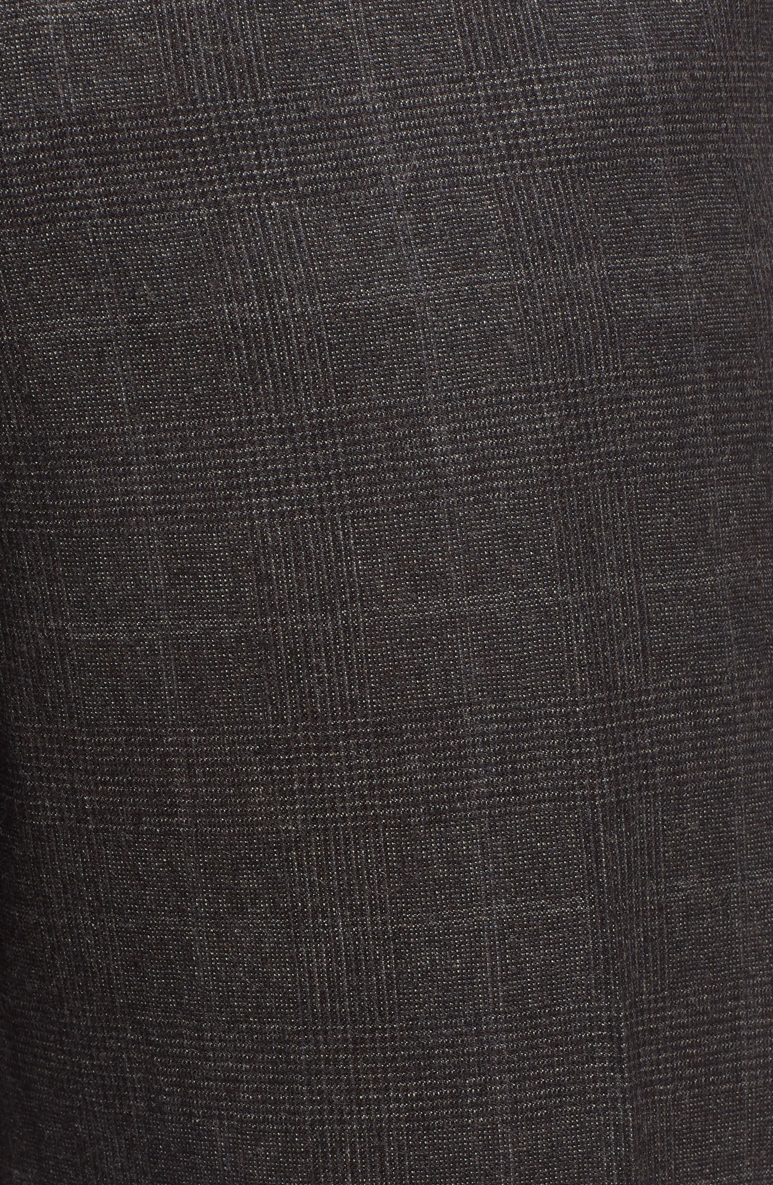 Trim Fit Flat Front Wool Trousers,                             Alternate thumbnail 5, color,                             BLACK